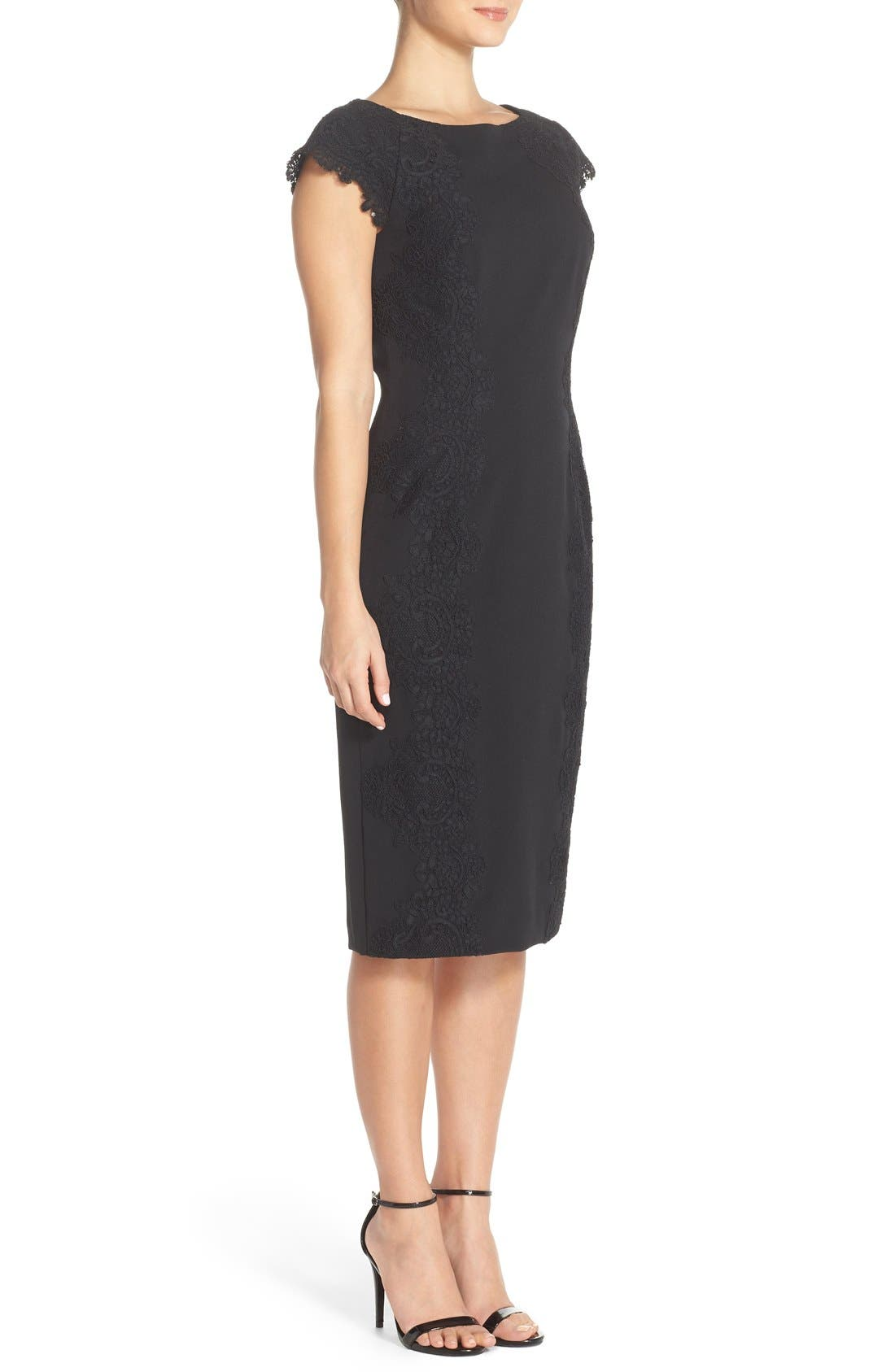 Lace Detail Crepe Sheath Dress,                             Alternate thumbnail 6, color,                             BLACK