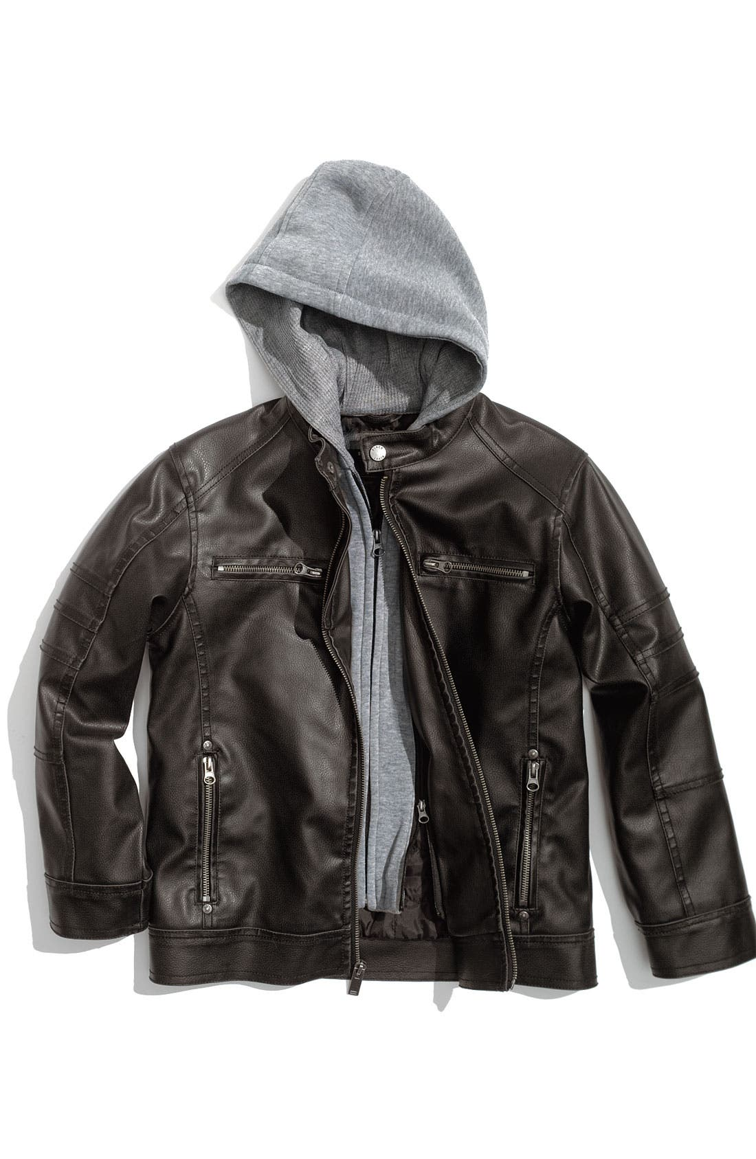 Hooded Faux Leather Jacket, Main, color, 001