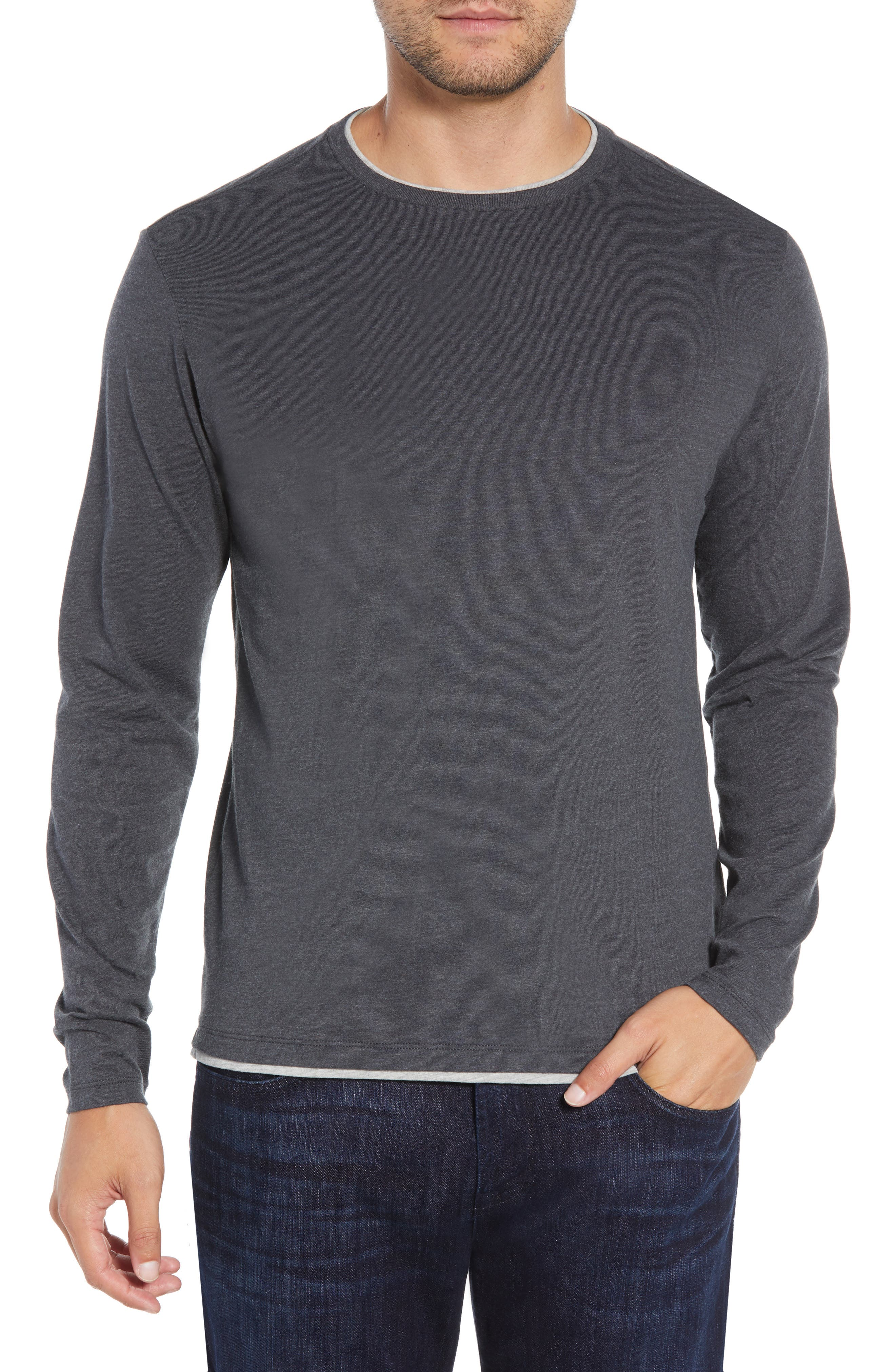 Halifax Long Sleeve Crewneck T-Shirt,                         Main,                         color, TITANIUM