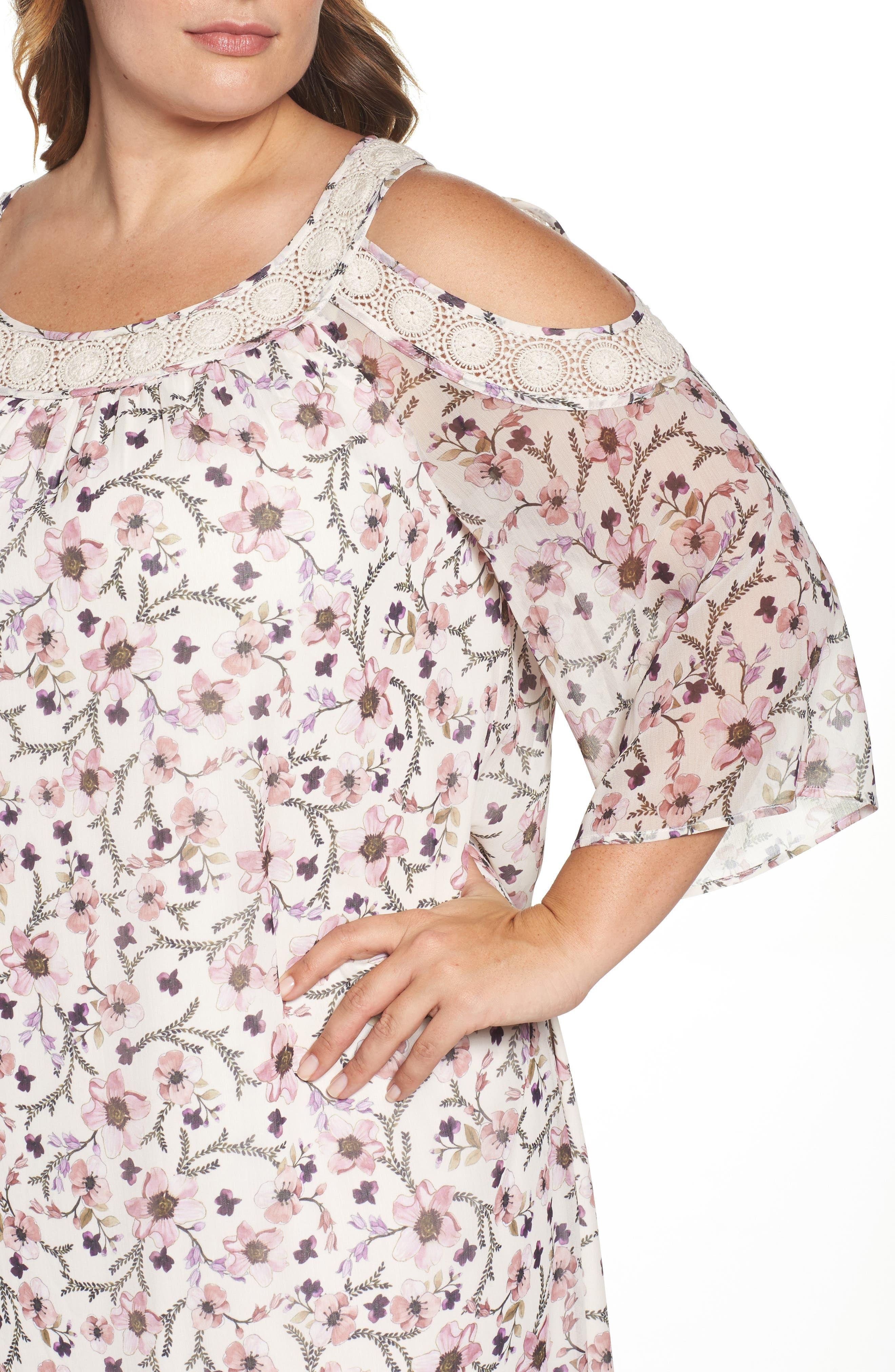 Lace Trim Cold Shoulder Shift Dress,                             Alternate thumbnail 4, color,                             900