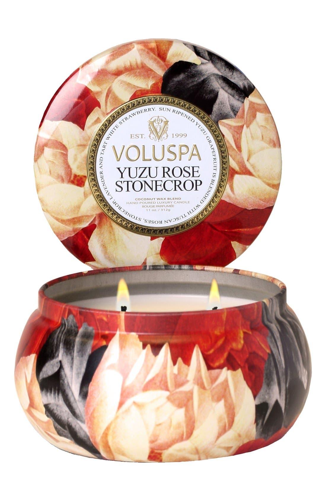 VOLUSPA,                             Maison Jardin Yuzu Rose Stonecrop Maison Metallo Two-Wick Candle,                             Main thumbnail 1, color,                             000