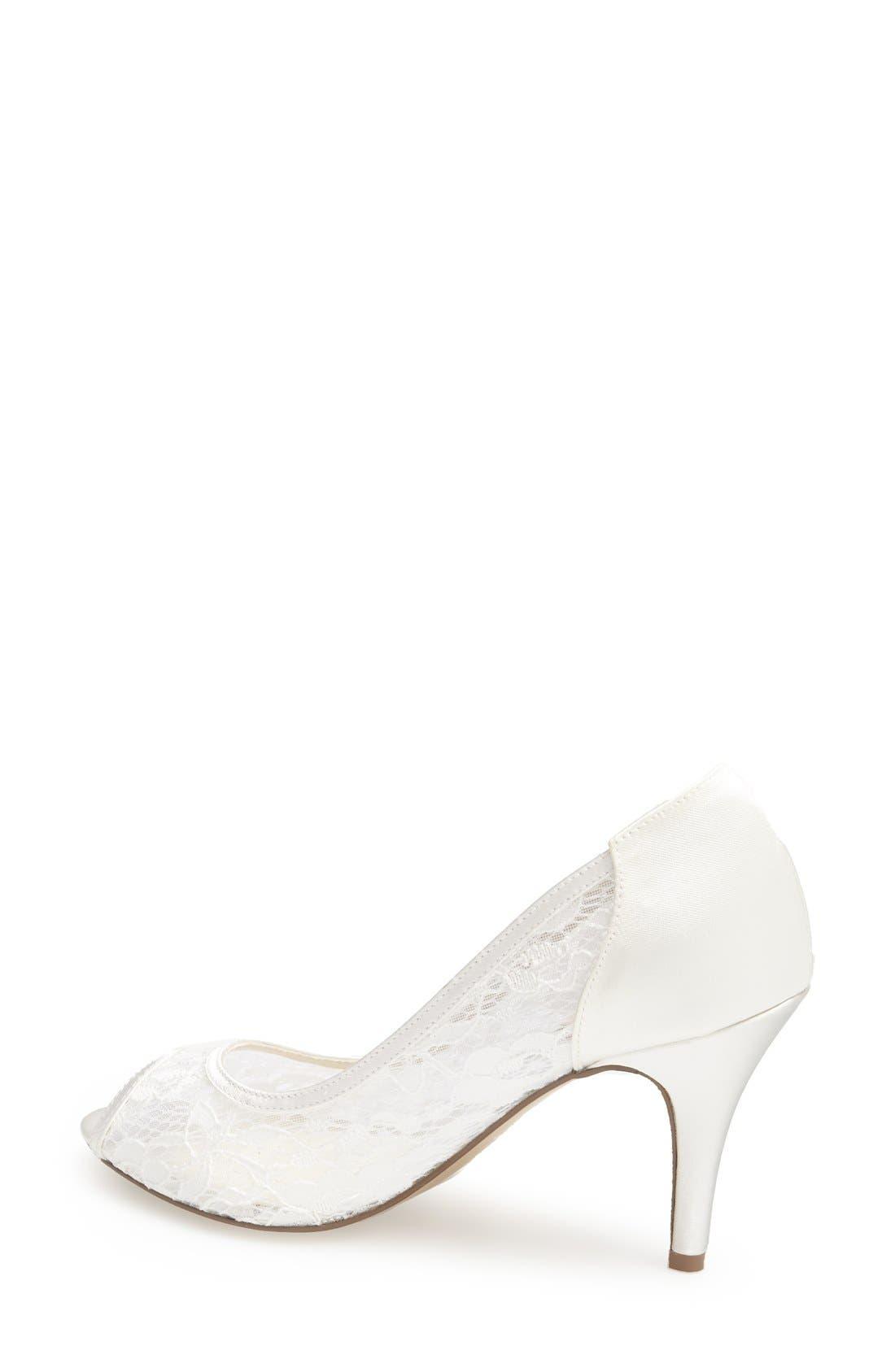 'Scrumptious' Lace Peep Toe Sandal,                             Alternate thumbnail 2, color,                             IVORY MESH LACE