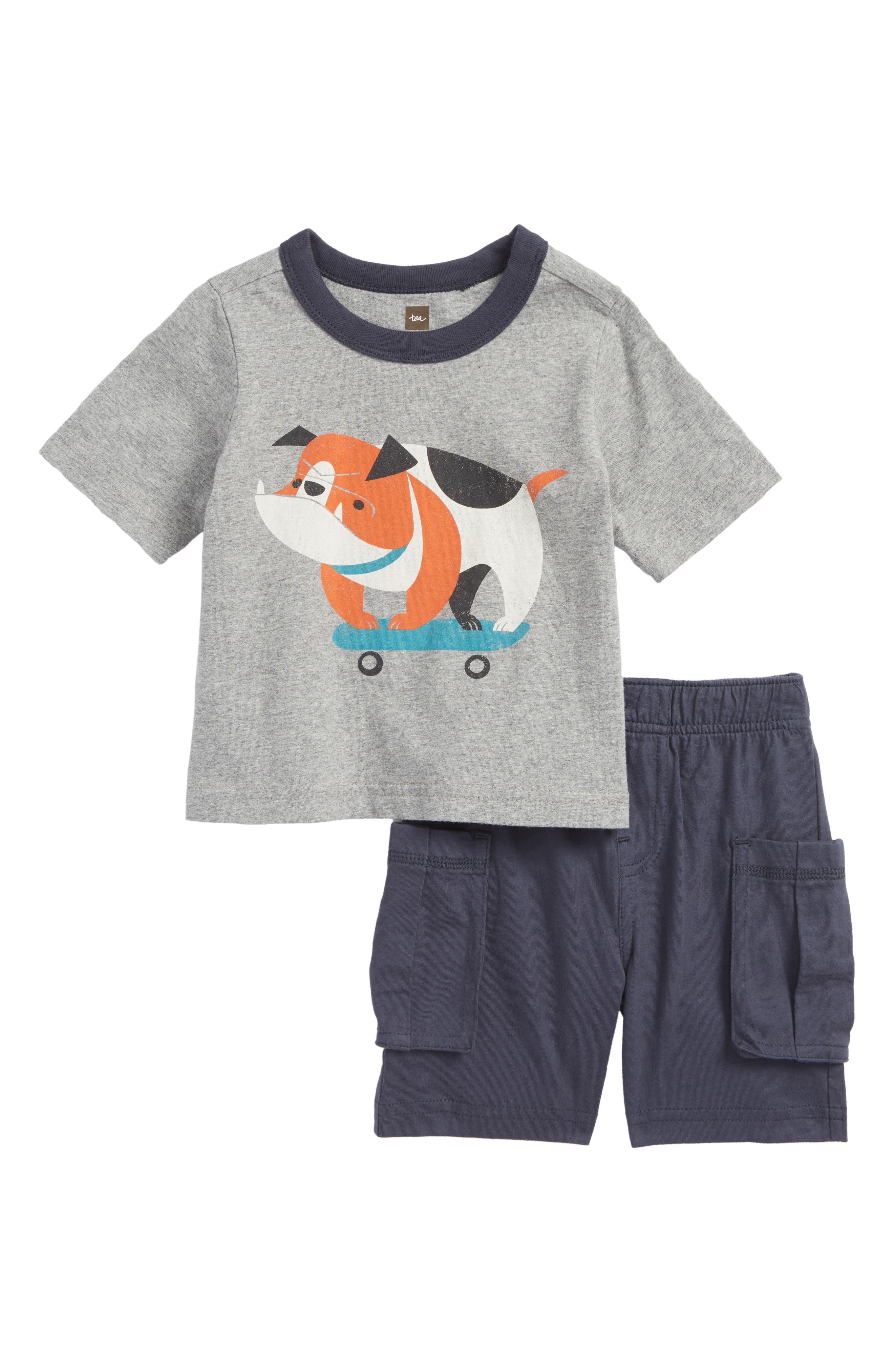 Skating Bulldog Top & Shorts Set,                         Main,                         color, 035