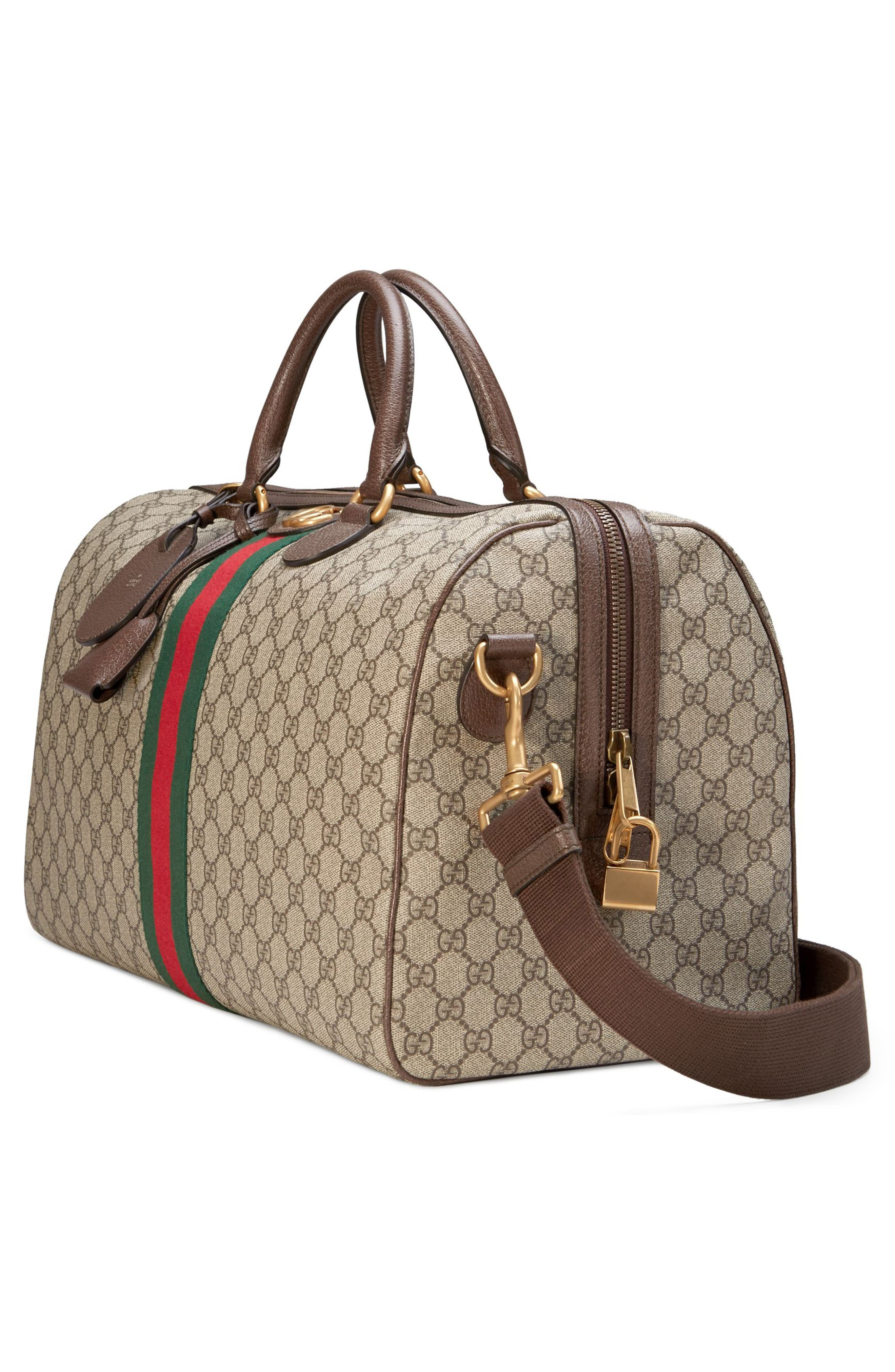GUCCI,                             Medium Ophidia GG Supreme Carry-On Duffel,                             Alternate thumbnail 3, color,                             BEIGE EBONY/ NEW ACERO