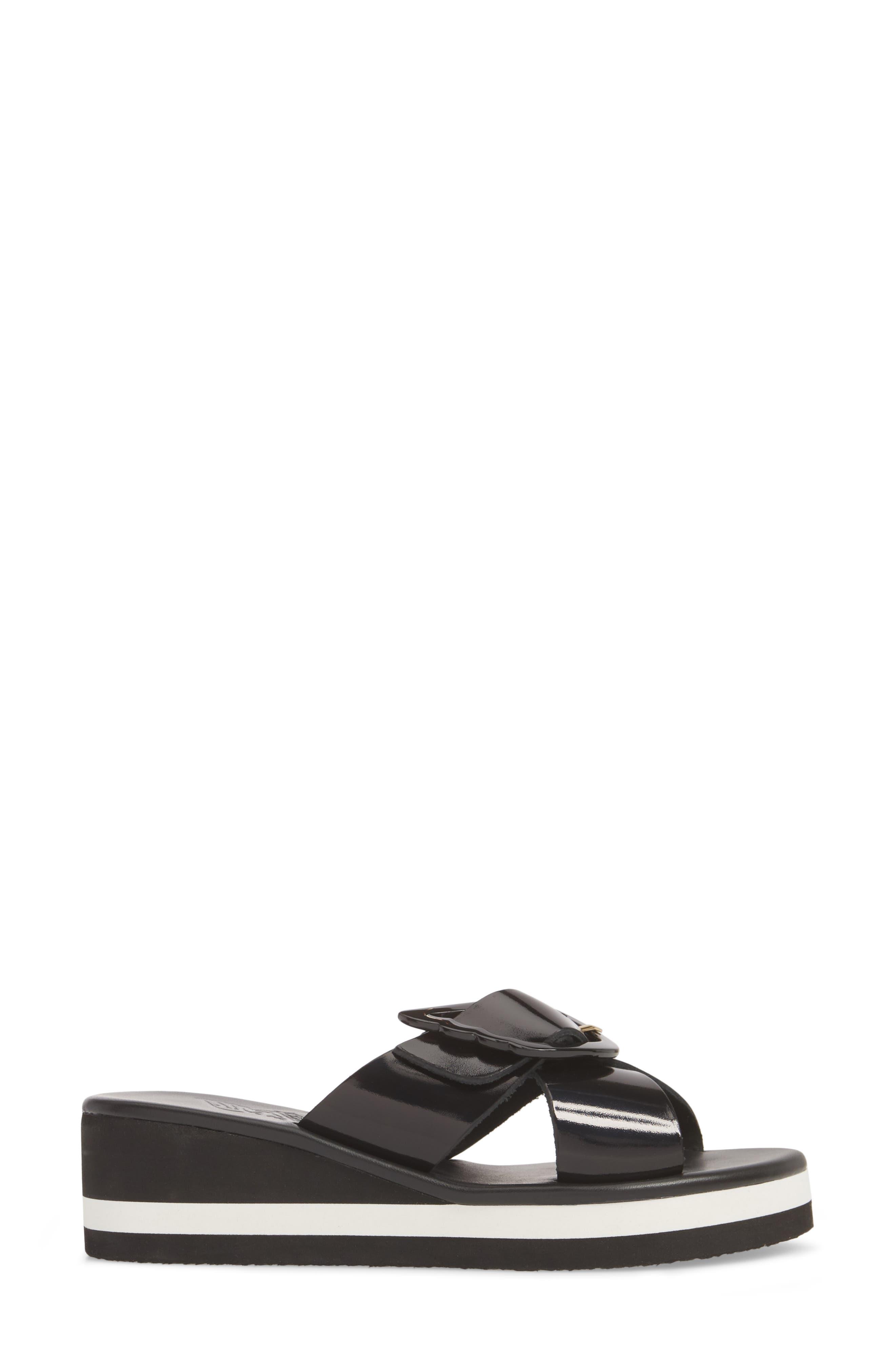 Thais Wedge Slide Sandal,                             Alternate thumbnail 3, color,                             BLACK