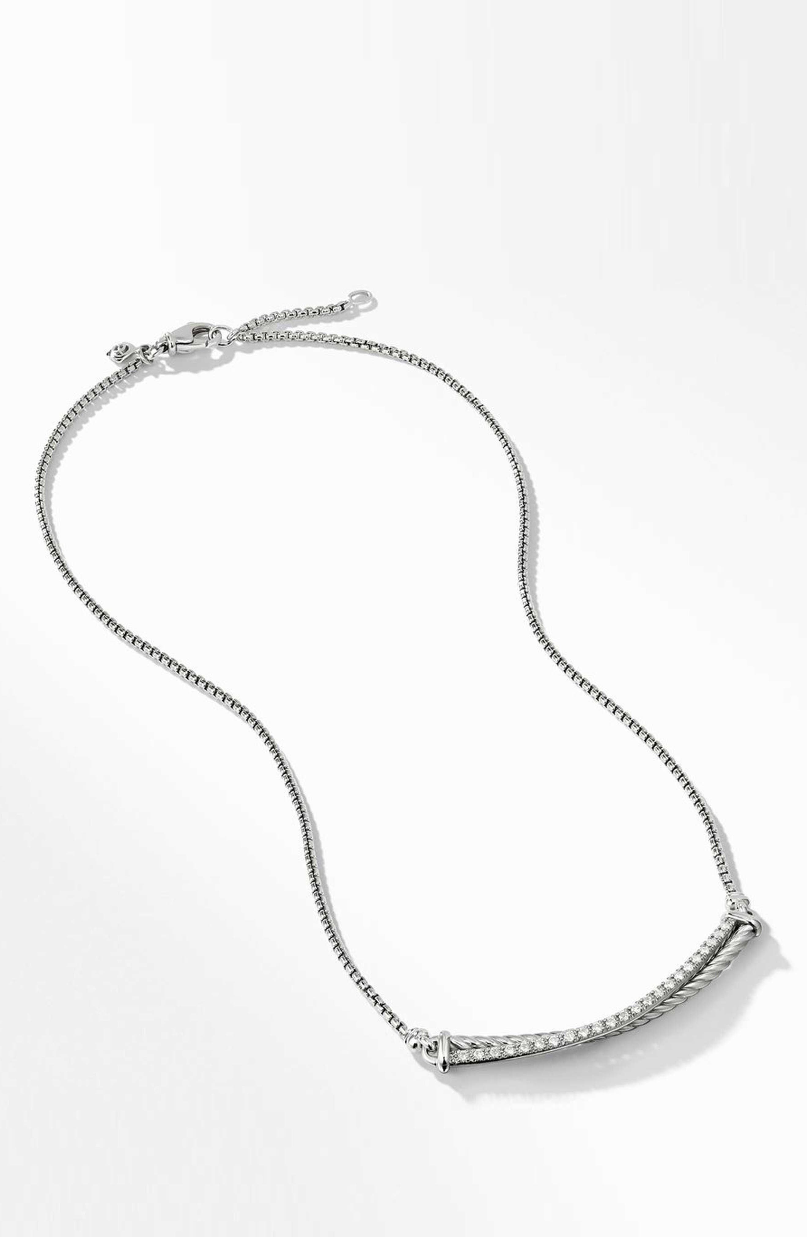 Crossover Bar Necklace with Diamonds,                         Main,                         color, SILVER/ DIAMOND