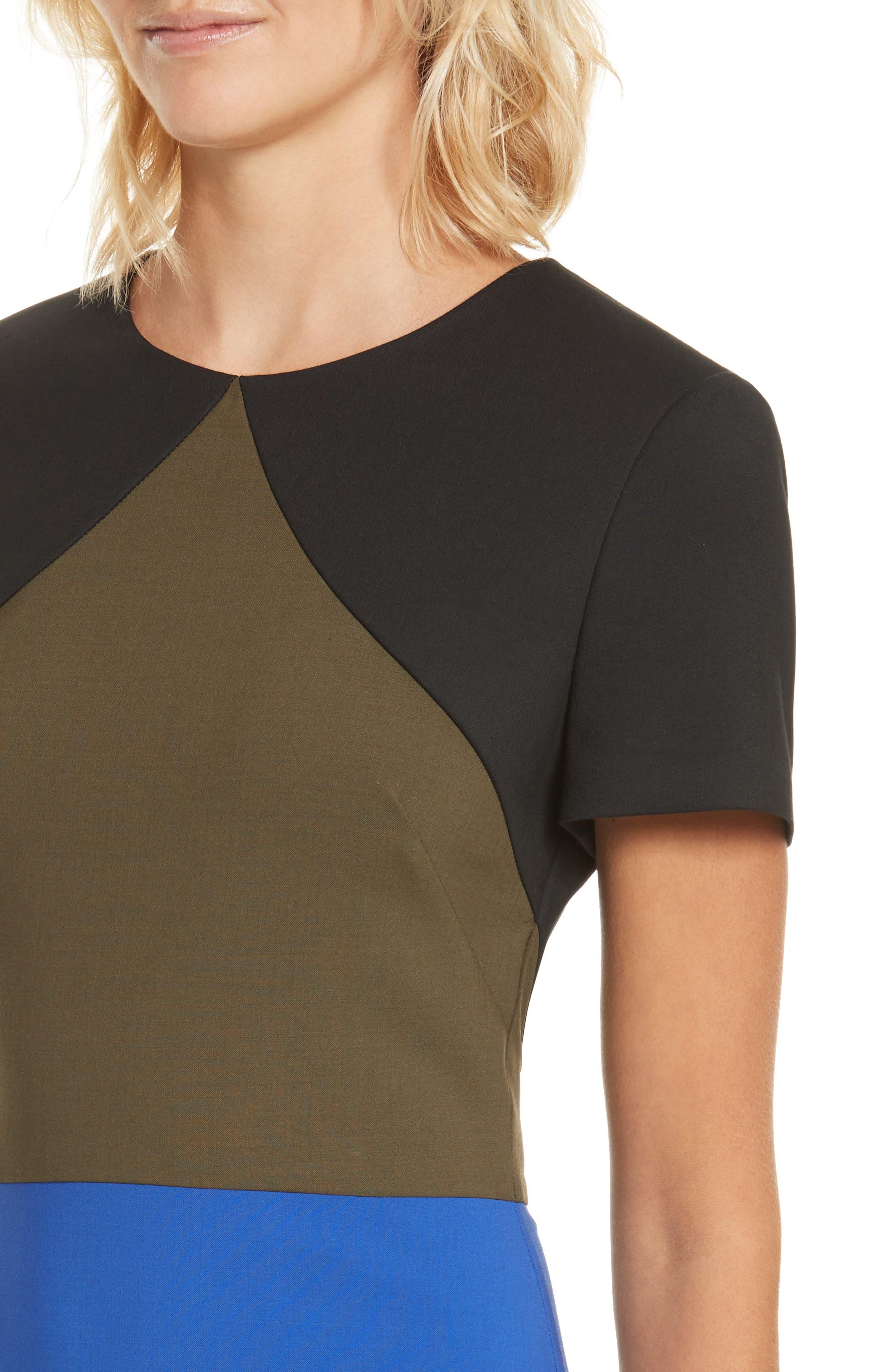 Colorblock Tailored Midi Dress,                             Alternate thumbnail 4, color,