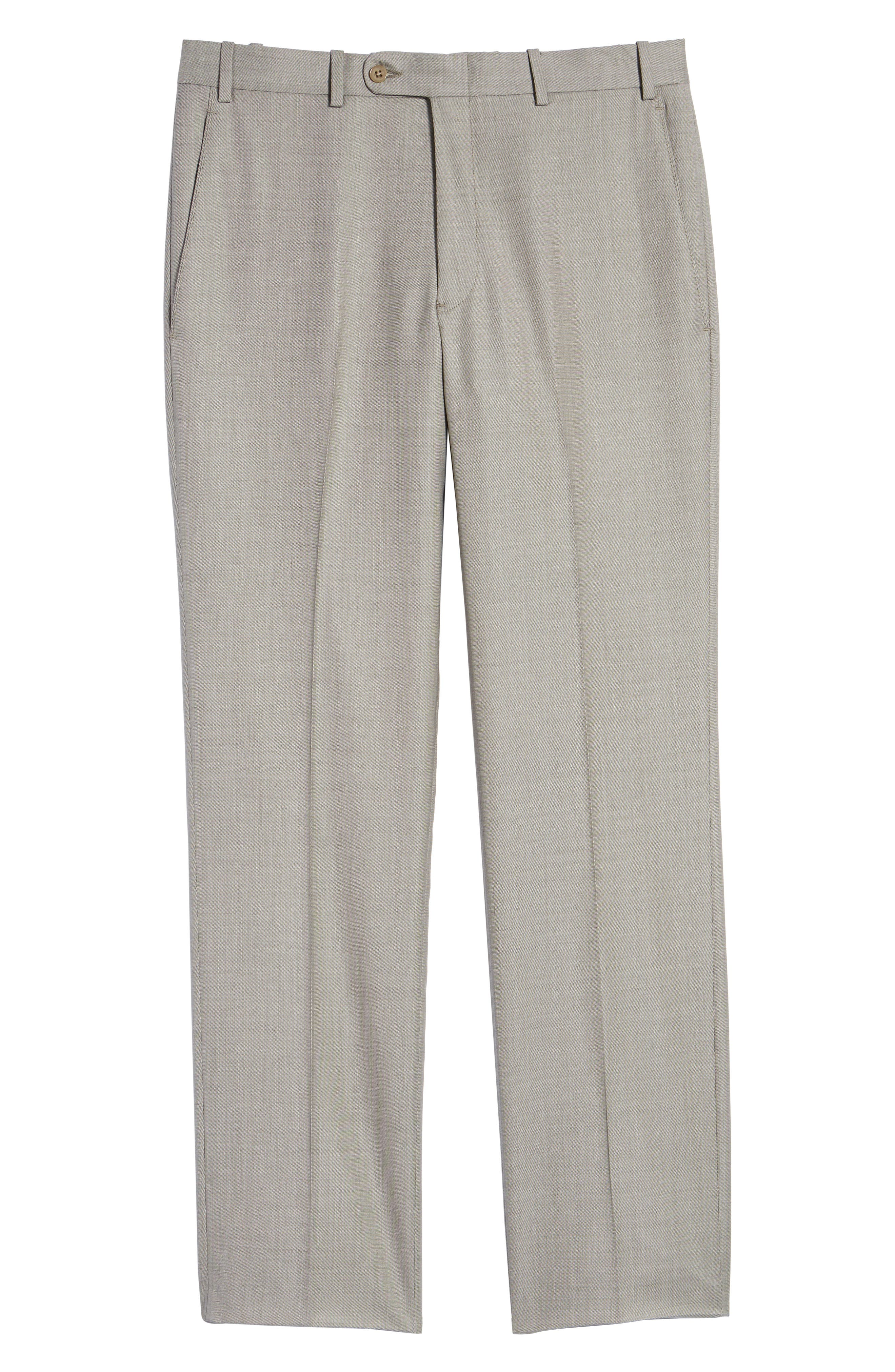Torino Flat Front Solid Wool Trousers,                             Alternate thumbnail 18, color,