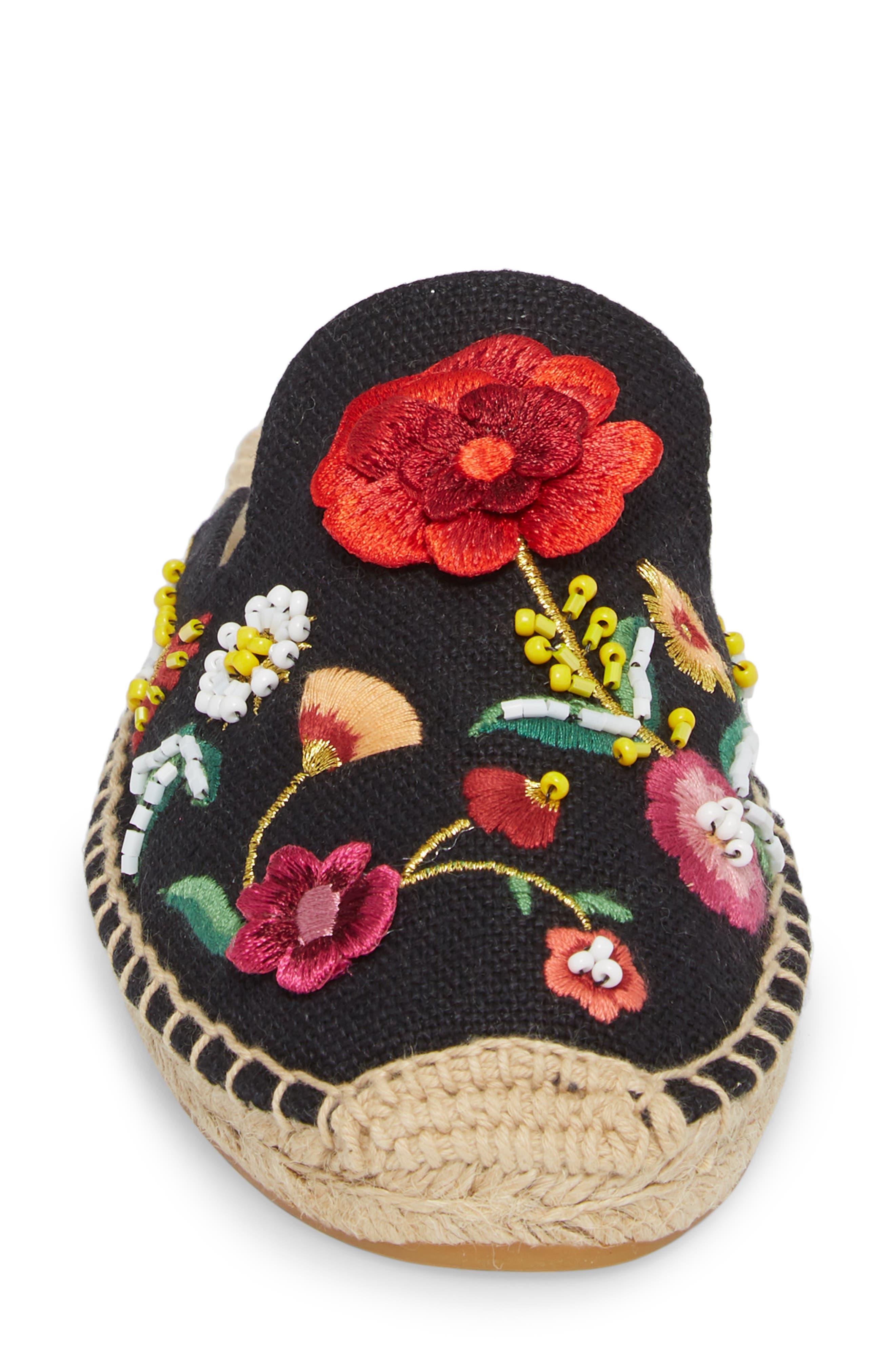 Embellished Floral Mule,                             Alternate thumbnail 4, color,                             BLACK