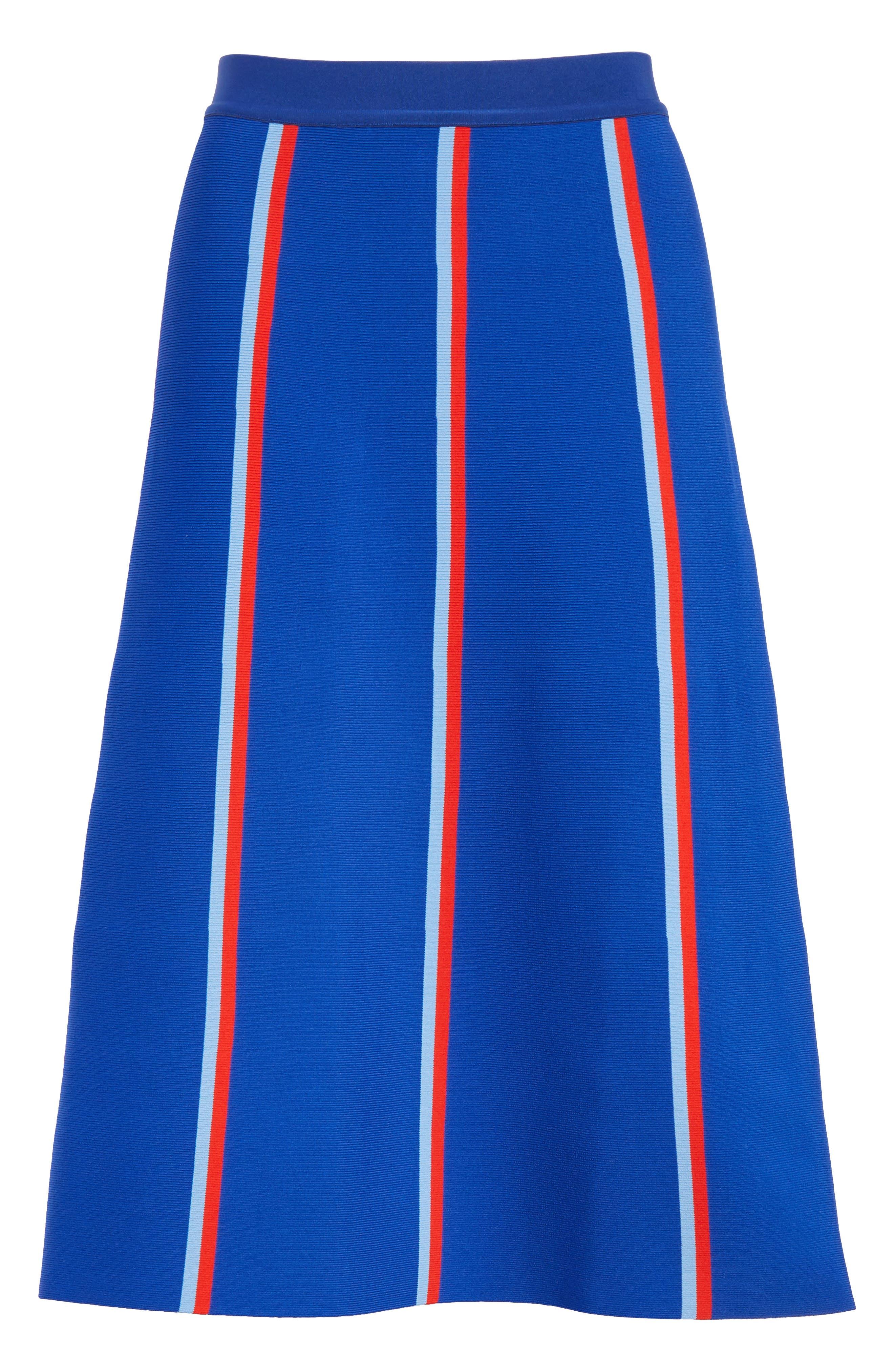Twin Stripe Tech Knit Skirt,                             Alternate thumbnail 6, color,                             SLALOM BLUE