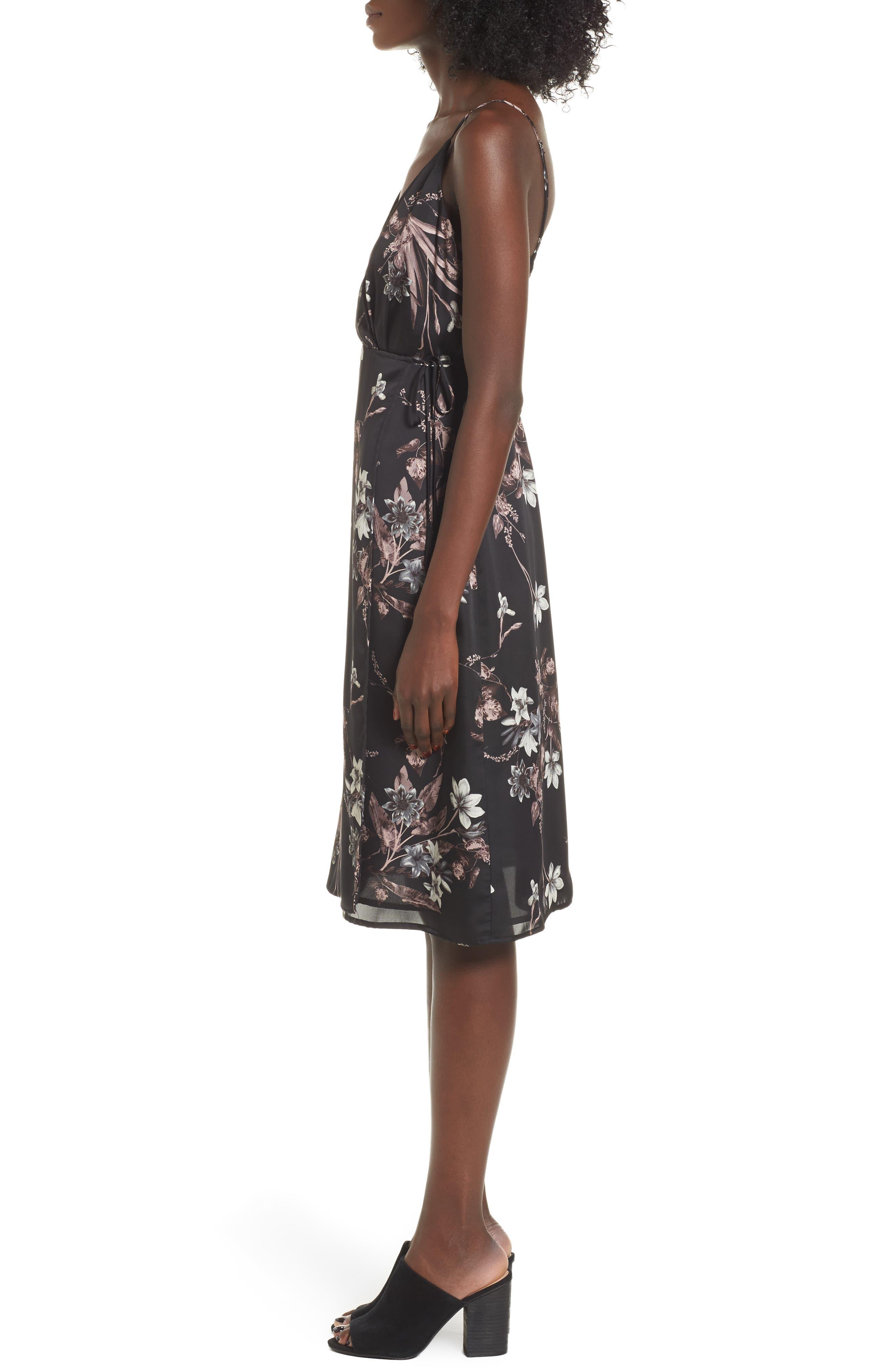 Satin Wrap Dress,                             Alternate thumbnail 3, color,                             001