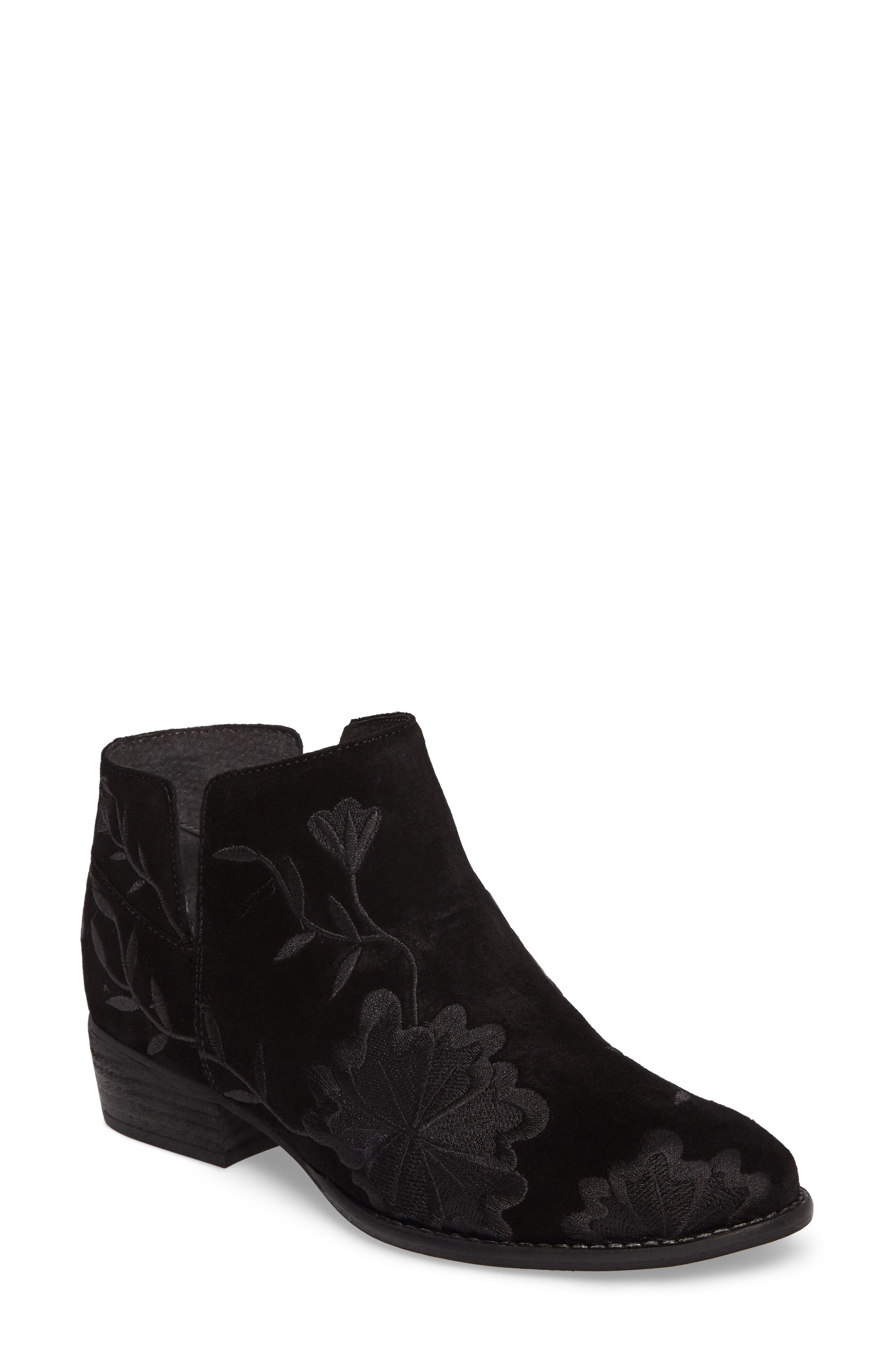 Lantern Embroidered Short Bootie,                             Main thumbnail 1, color,                             001