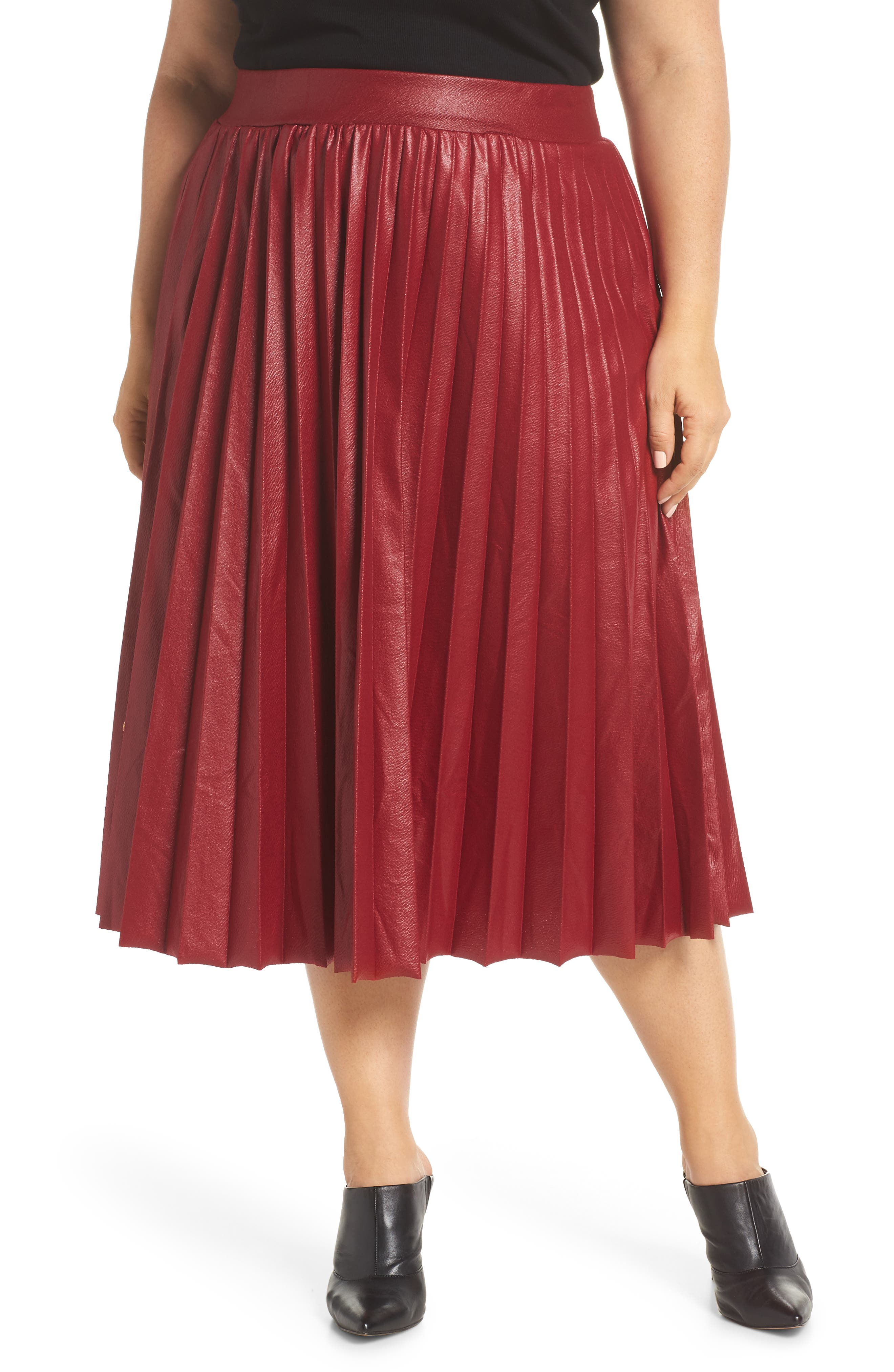 Coated Pleated Midi Skirt,                             Main thumbnail 1, color,                             OXBLOOD