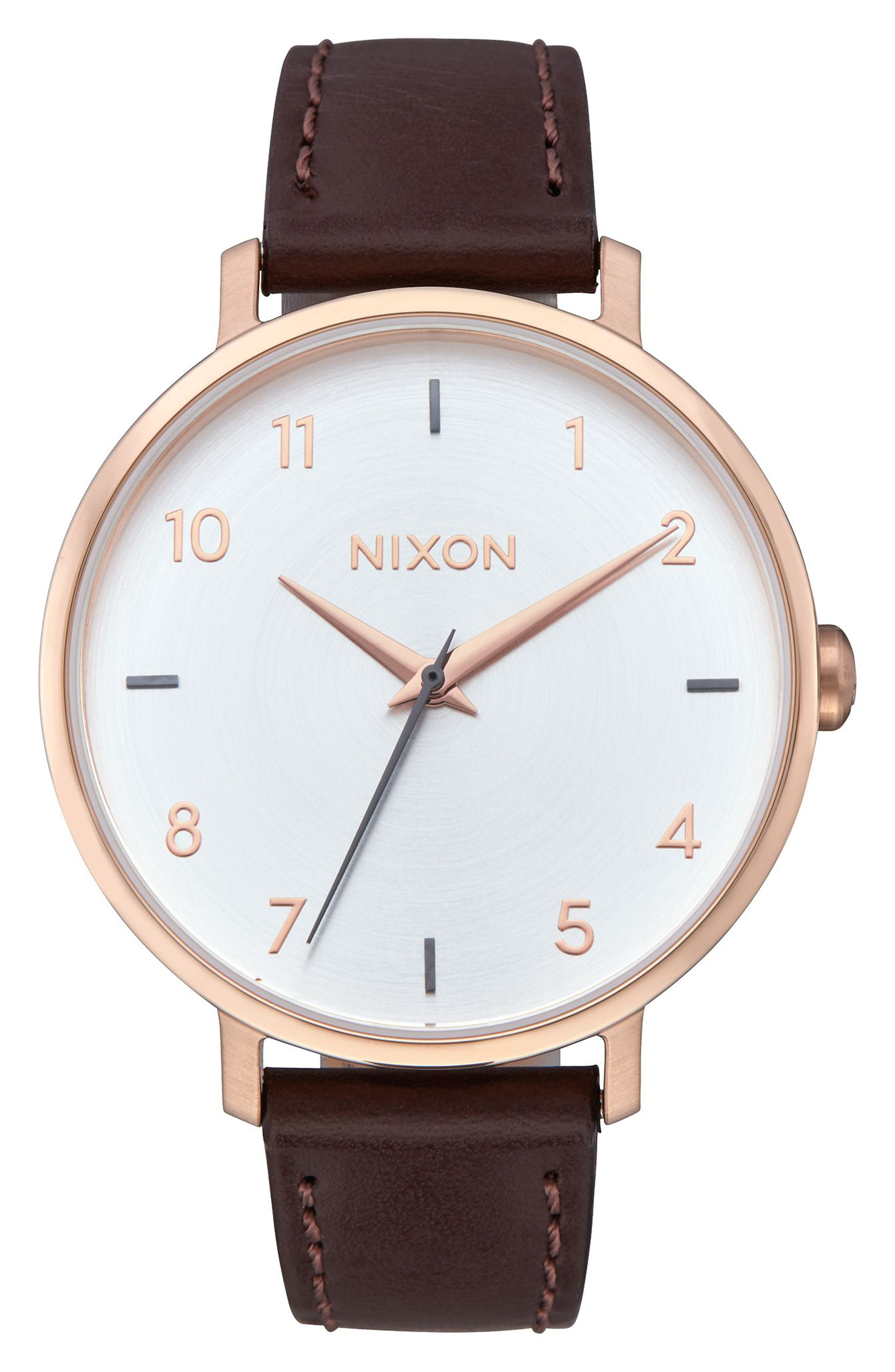 The Arrow Leather Strap Watch, 38mm,                         Main,                         color, BROWN/ WHITE/ ROSE GOLD