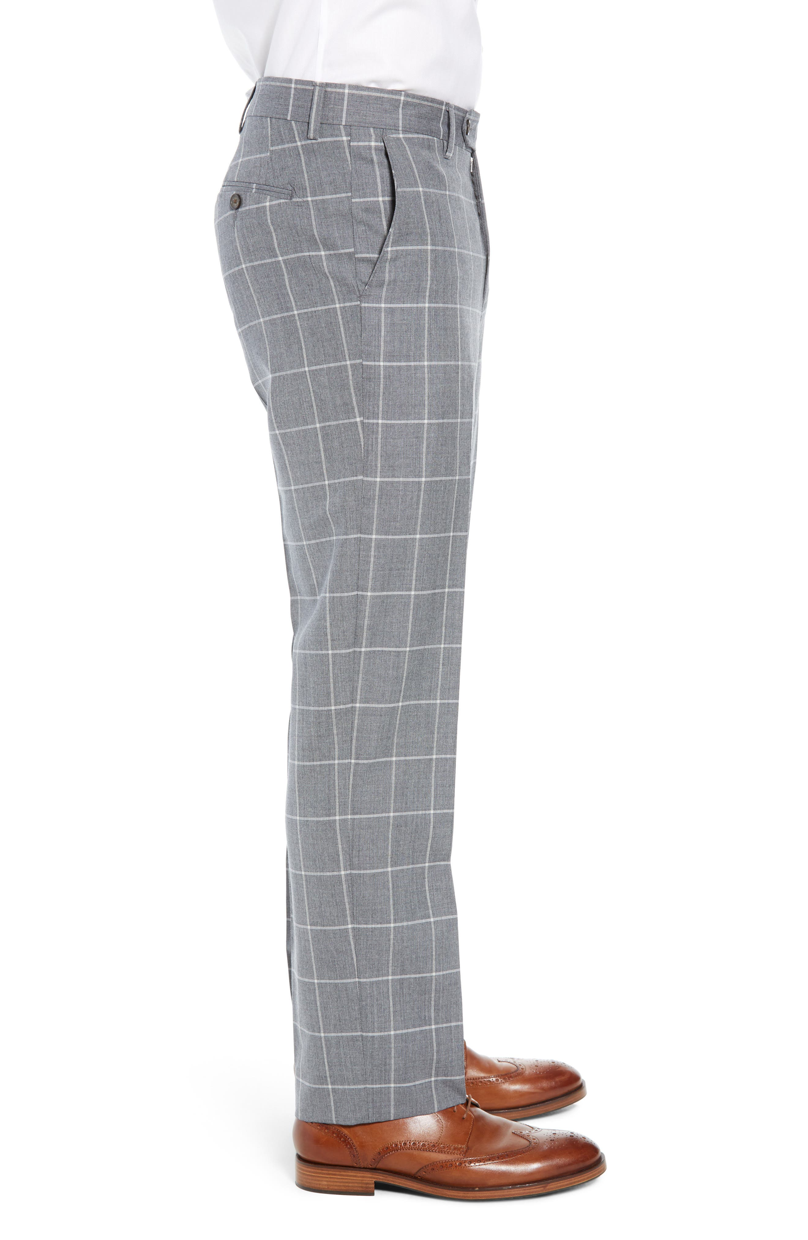 Manufacturing Flat Front Windowpane Wool Trousers,                             Alternate thumbnail 3, color,                             101