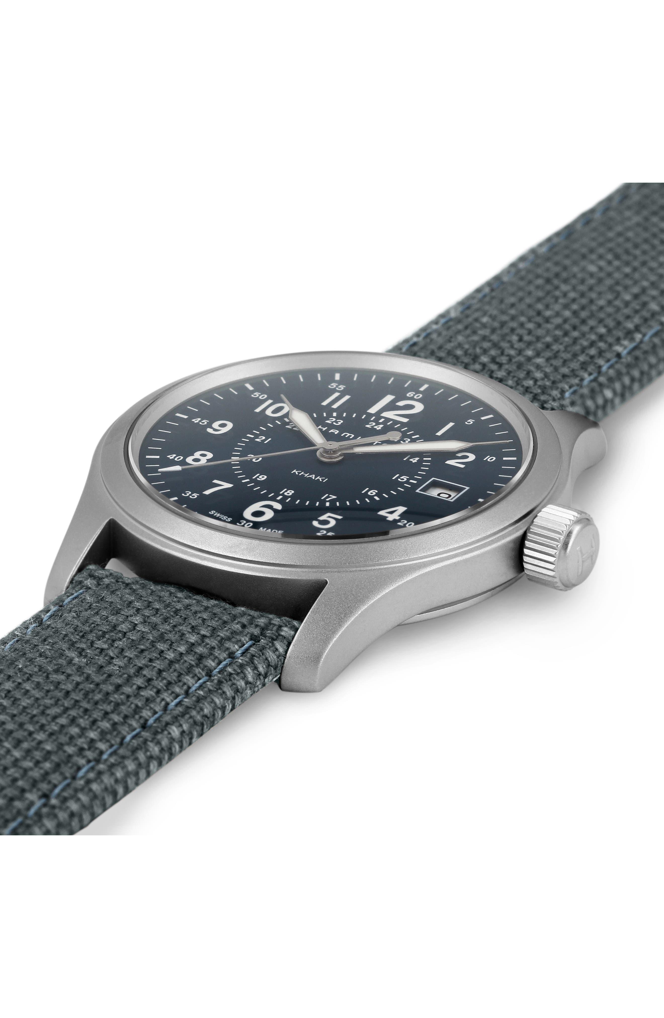 Khaki Field Canvas Strap Watch, 38mm,                             Alternate thumbnail 3, color,                             BLUE/ SILVER