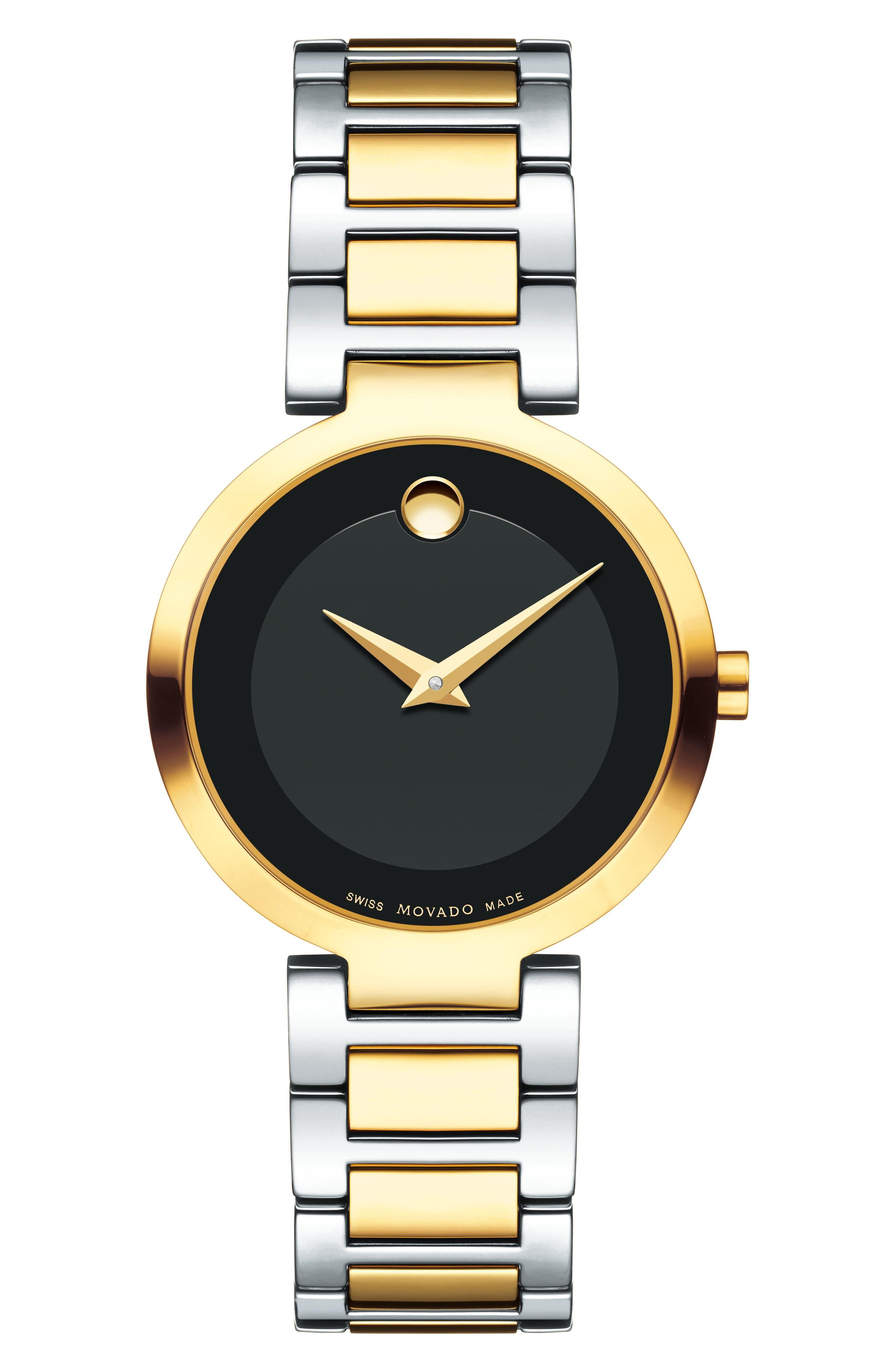 Modern Classic Bracelet Watch, 28mm,                             Main thumbnail 1, color,                             SILVER/ BLACK/ GOLD