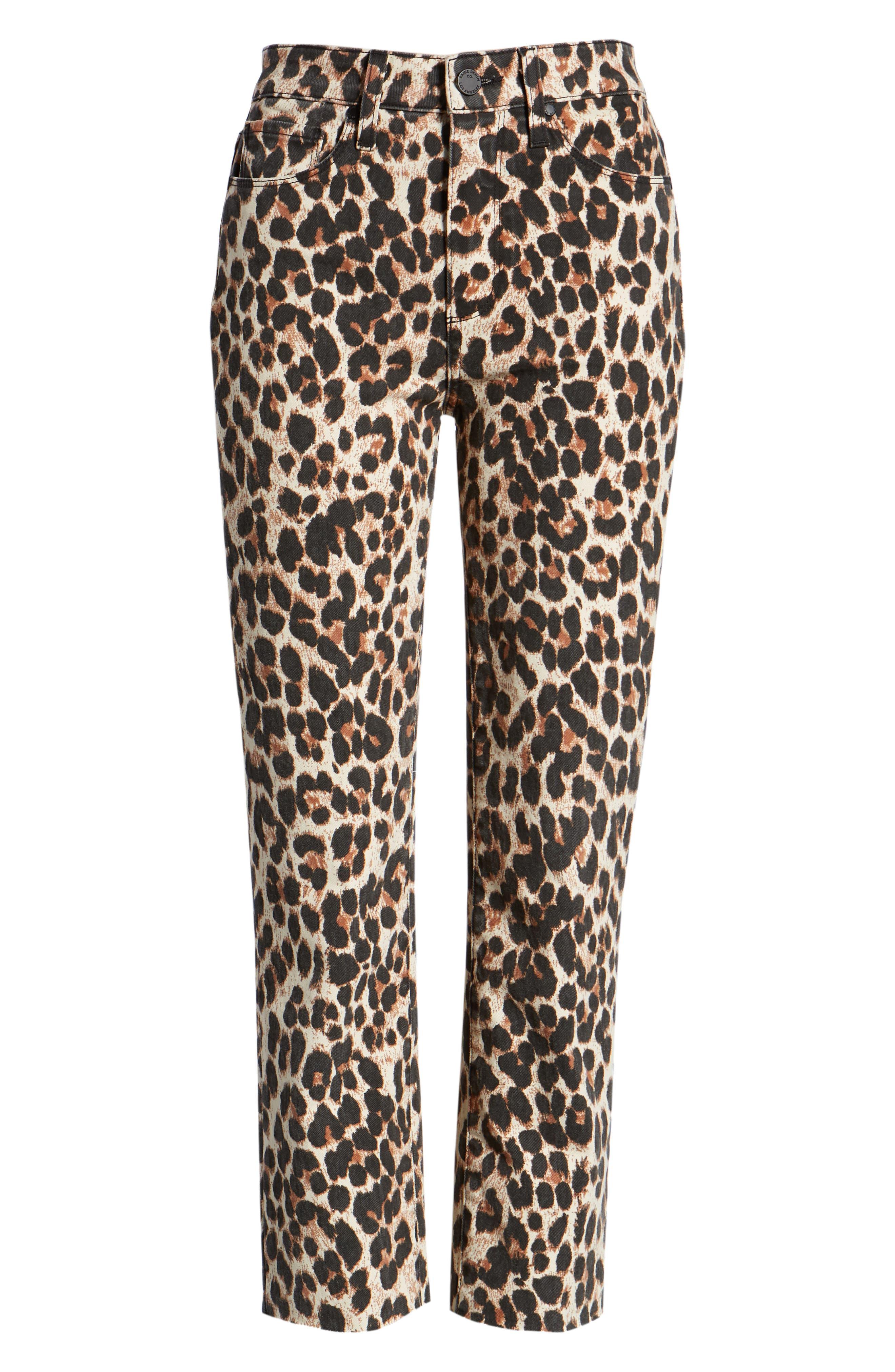 Hoxton High Waist Ankle Straight Leg Jeans,                             Alternate thumbnail 7, color,                             SAHARA LEOPARD