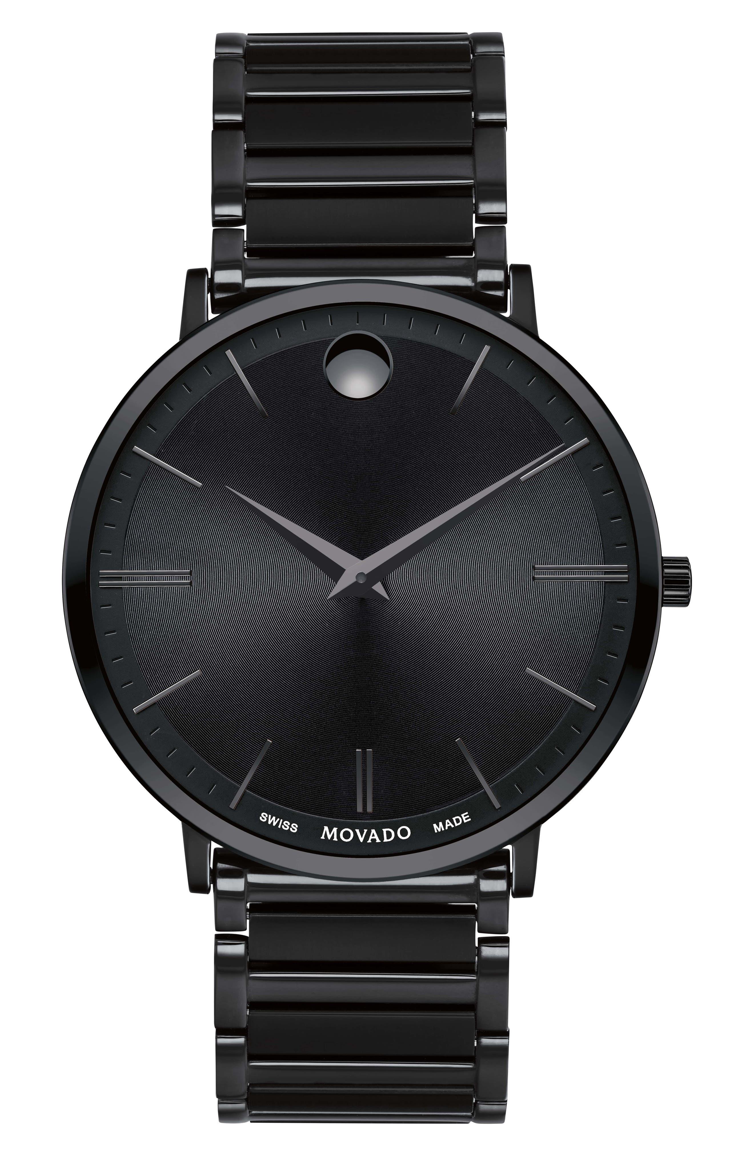 Ultra Slim Bracelet Watch, 40mm,                             Main thumbnail 1, color,                             BLACK