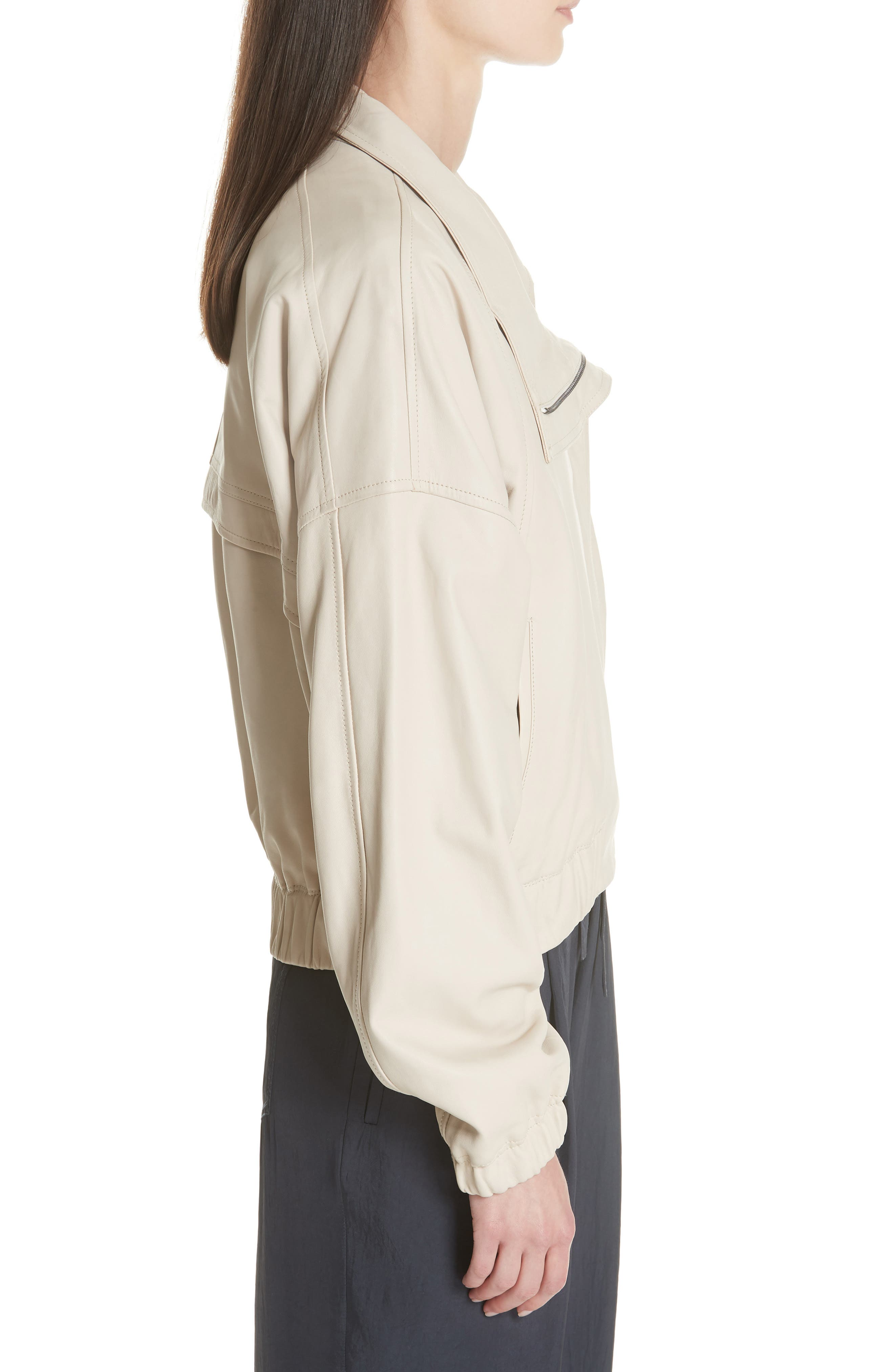 Asymmetrical Leather Jacket,                             Alternate thumbnail 3, color,                             292
