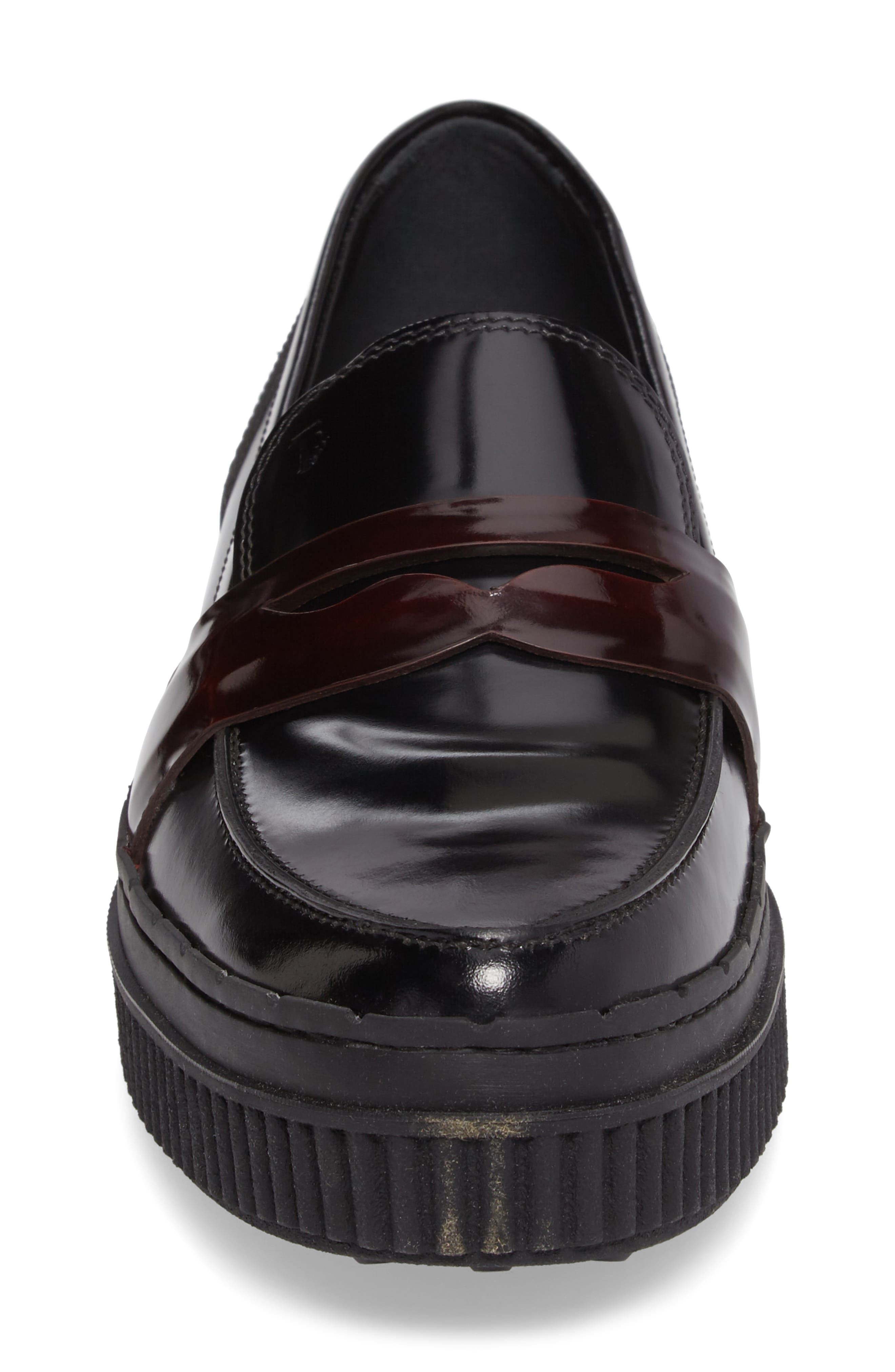 Penny Creeper Loafer,                             Alternate thumbnail 4, color,                             BLACK/ OXBLOOD