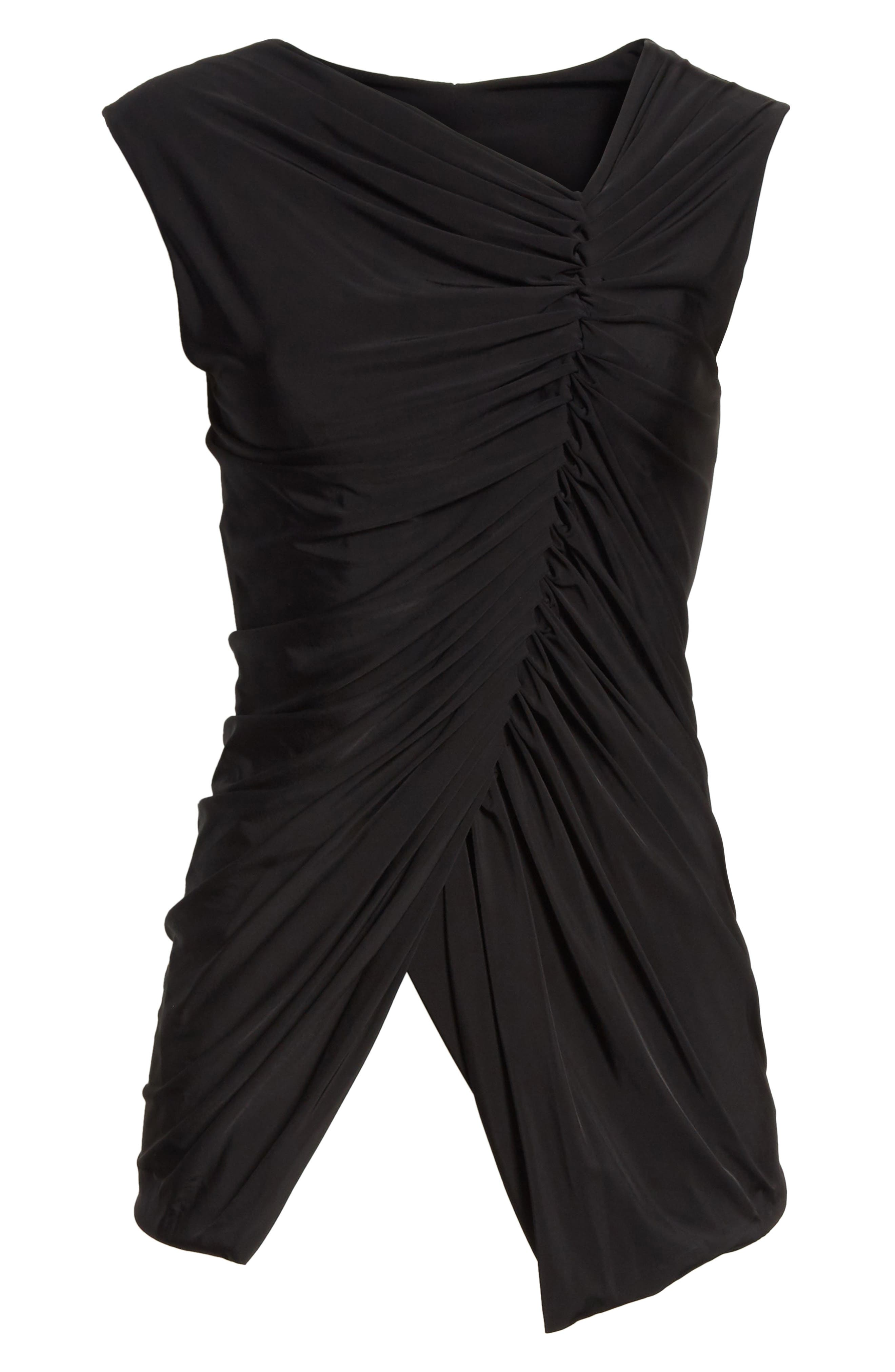 Jason Wu Asymmetrical Ruched Jersey Top,                             Alternate thumbnail 6, color,                             001