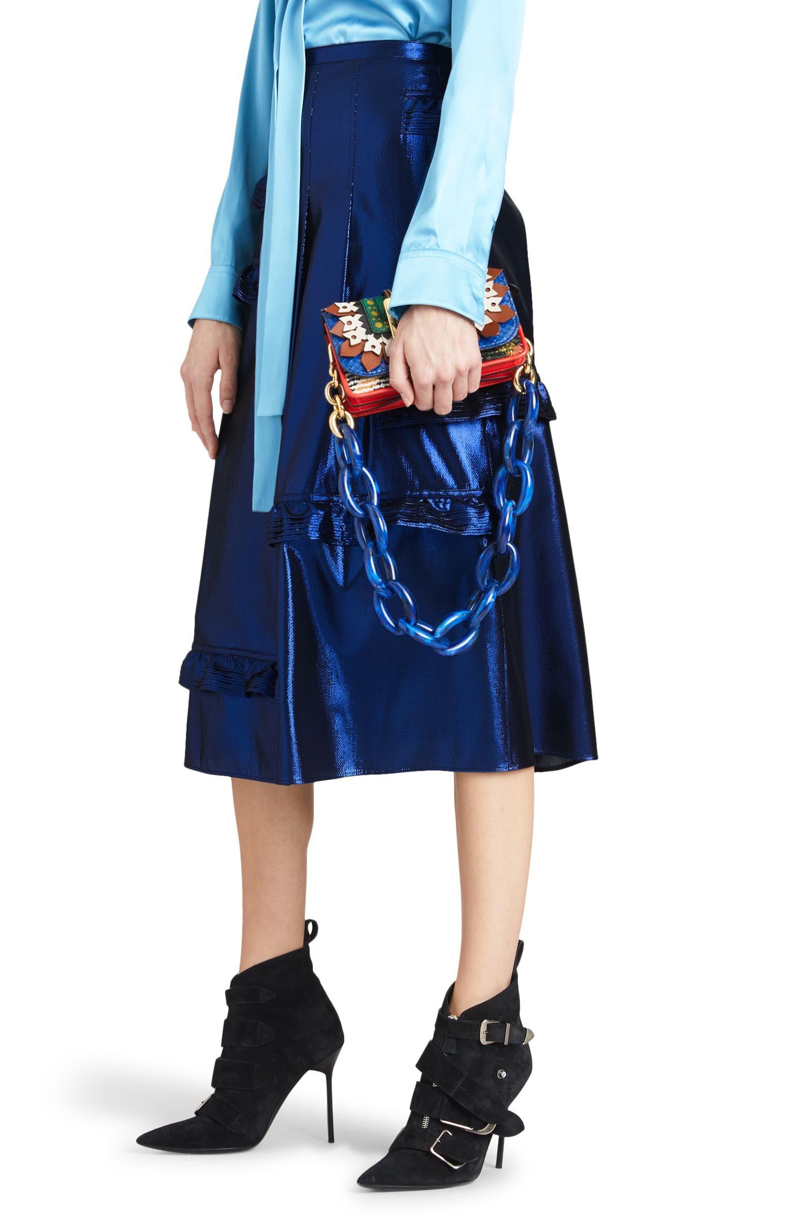 Merse Metallic Ruffle Skirt,                             Alternate thumbnail 3, color,                             410