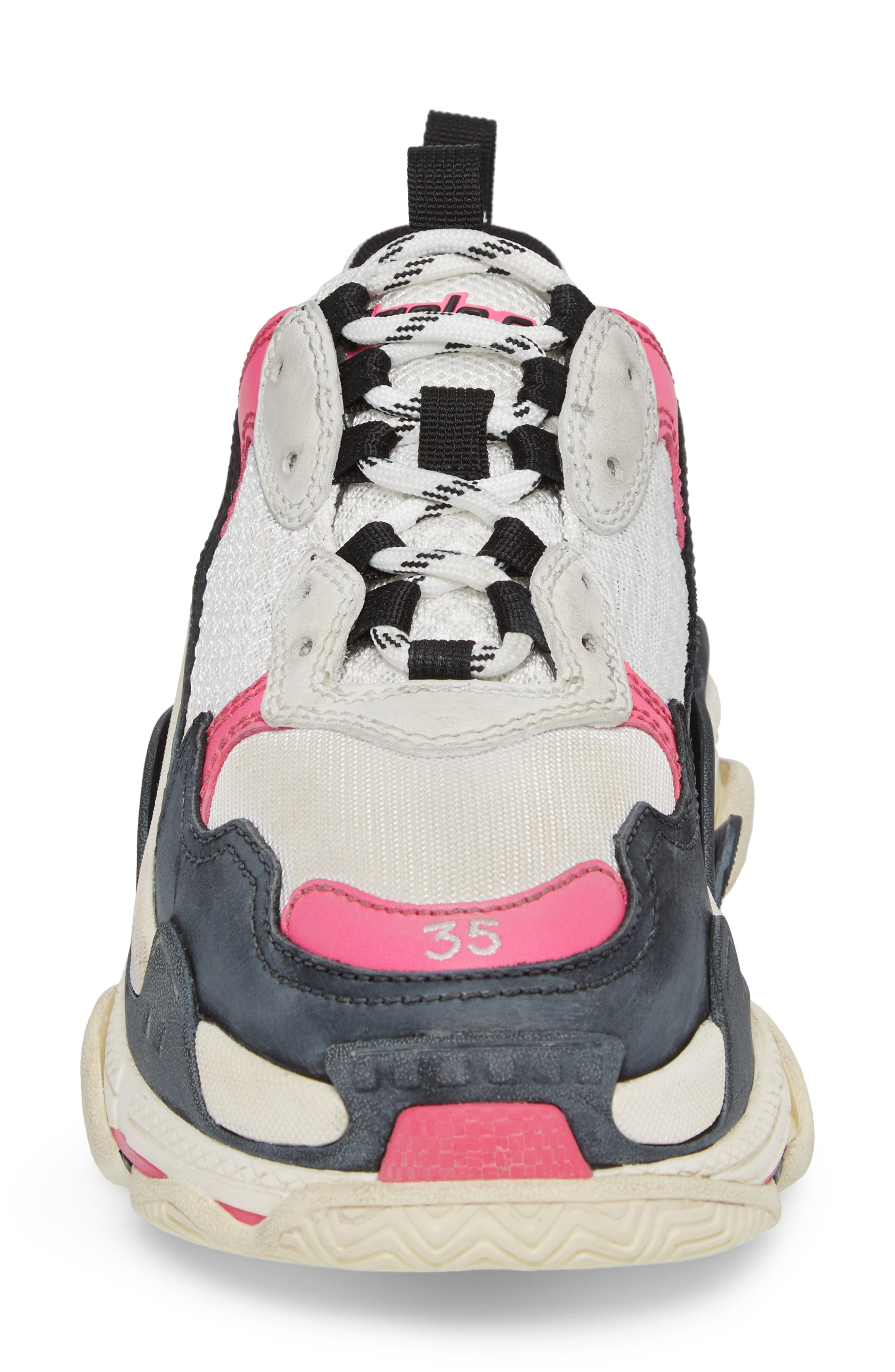 BALENCIAGA,                             Triple S Low Top Sneaker,                             Alternate thumbnail 4, color,                             WHITE/ BLACK/ PINK