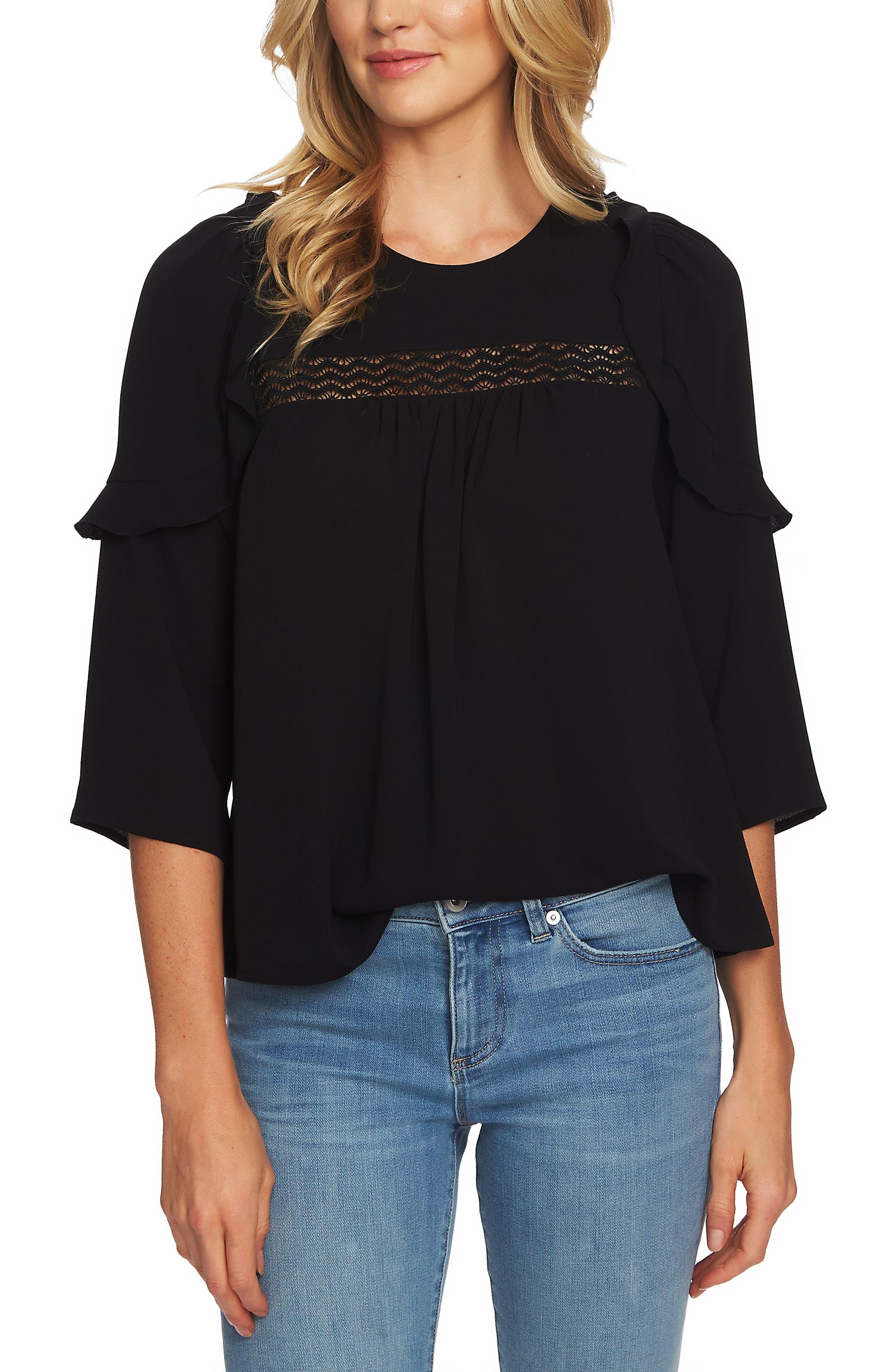 CECE Lace Inset Blouse, Main, color, RICH BLACK