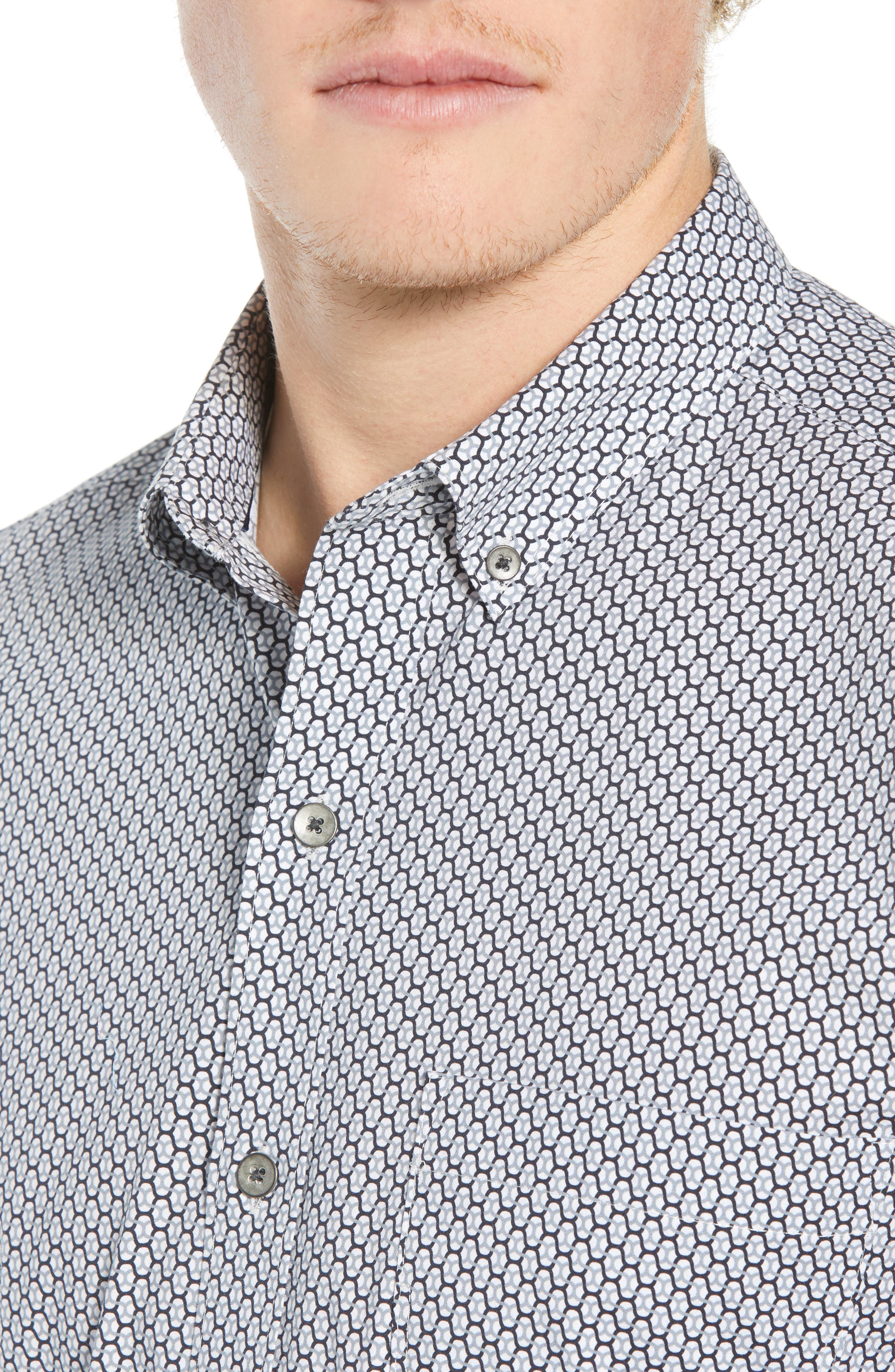Reworked Slim Fit Print Sport Shirt,                             Alternate thumbnail 2, color,                             WHITE/ GREY