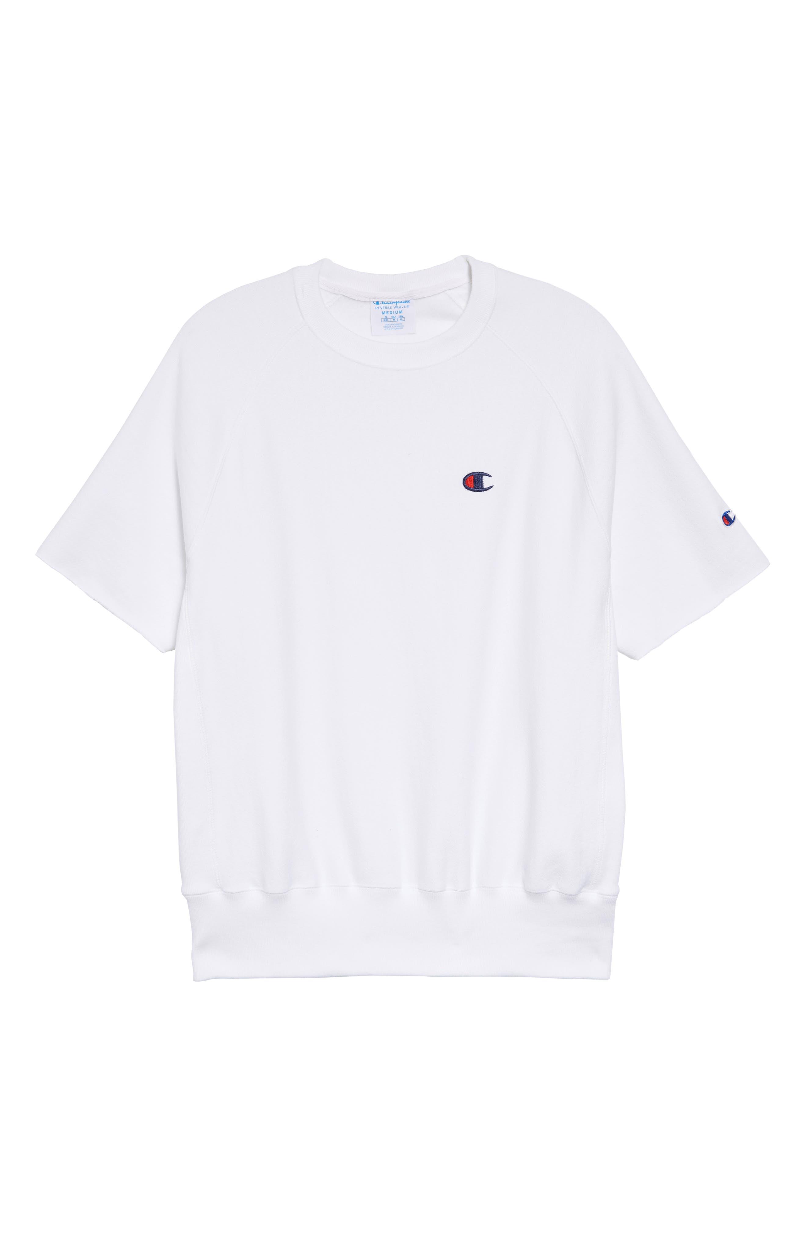 Reverse Weave Short Sleeve Sweatshirt,                             Alternate thumbnail 3, color,                             WHITE