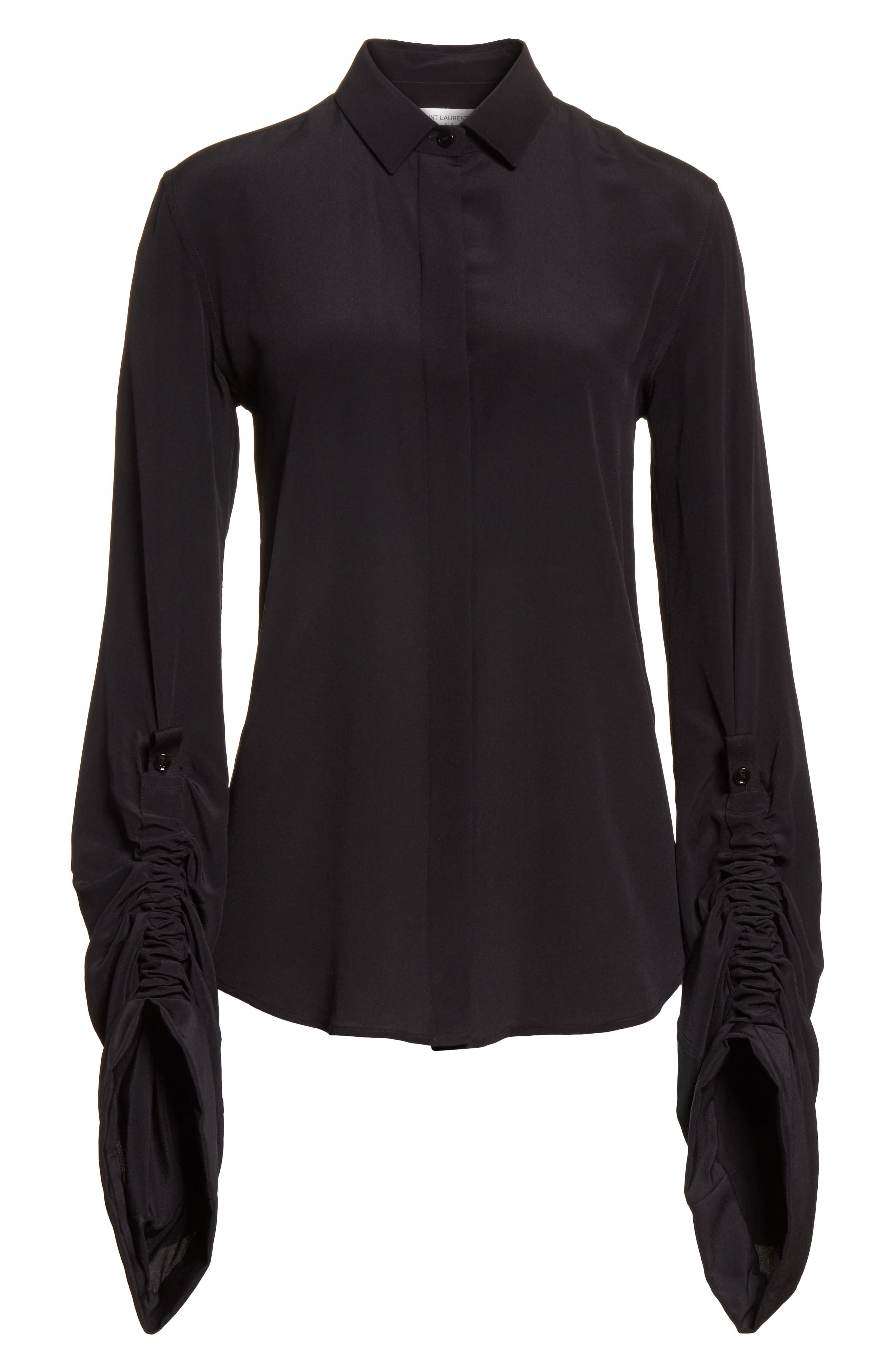 Exaggerated Sleeve Silk Blouse,                             Alternate thumbnail 6, color,                             001
