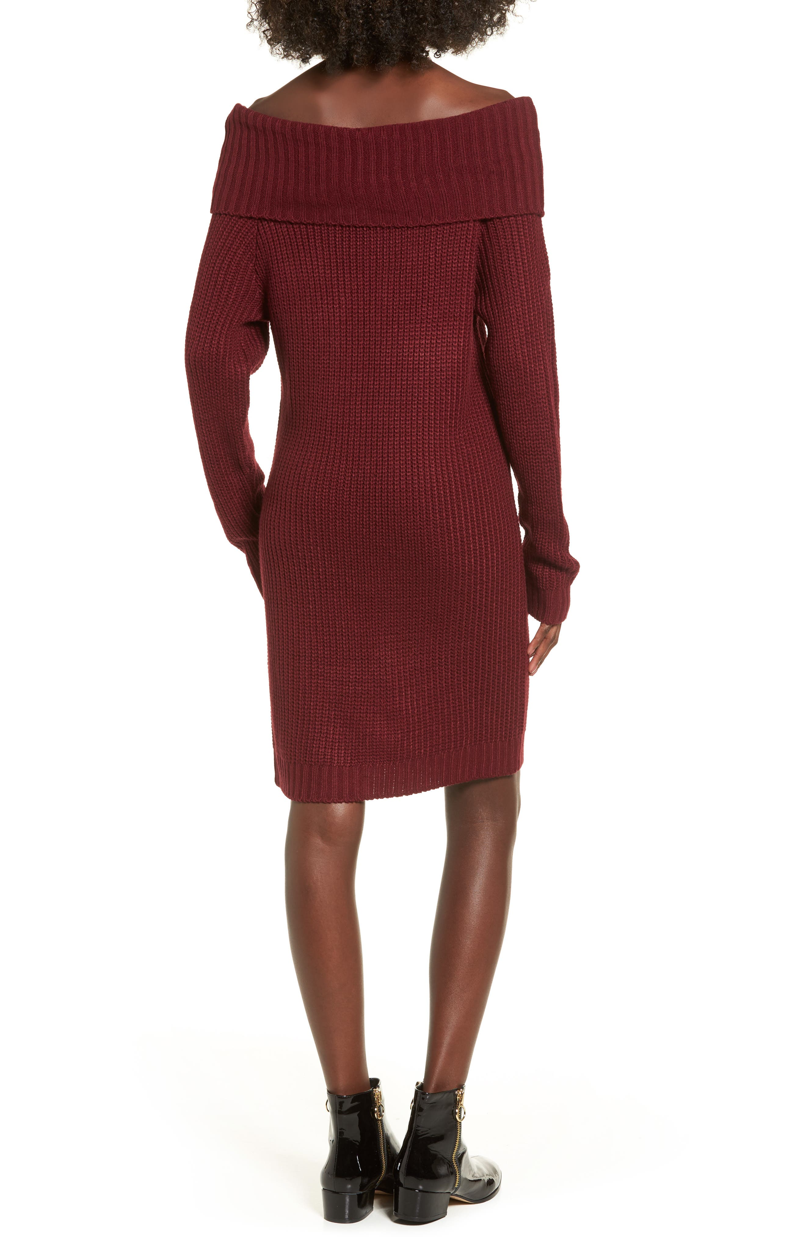 Foldover Off the Shoulder Sweater Dress,                             Alternate thumbnail 8, color,