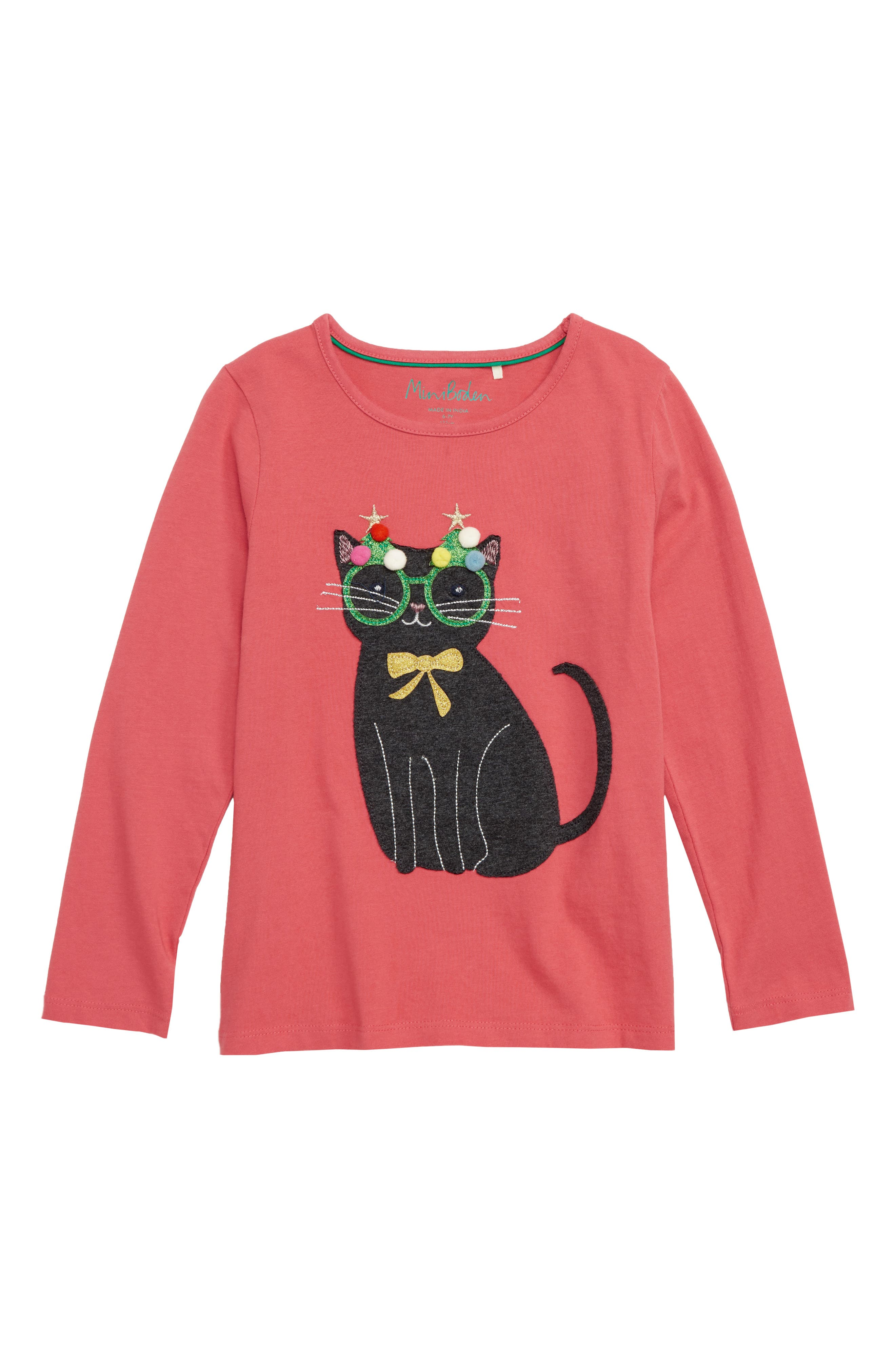 Mini Boden Festive Animals Tee,                         Main,                         color, PNK ROSETTE PINK CAT