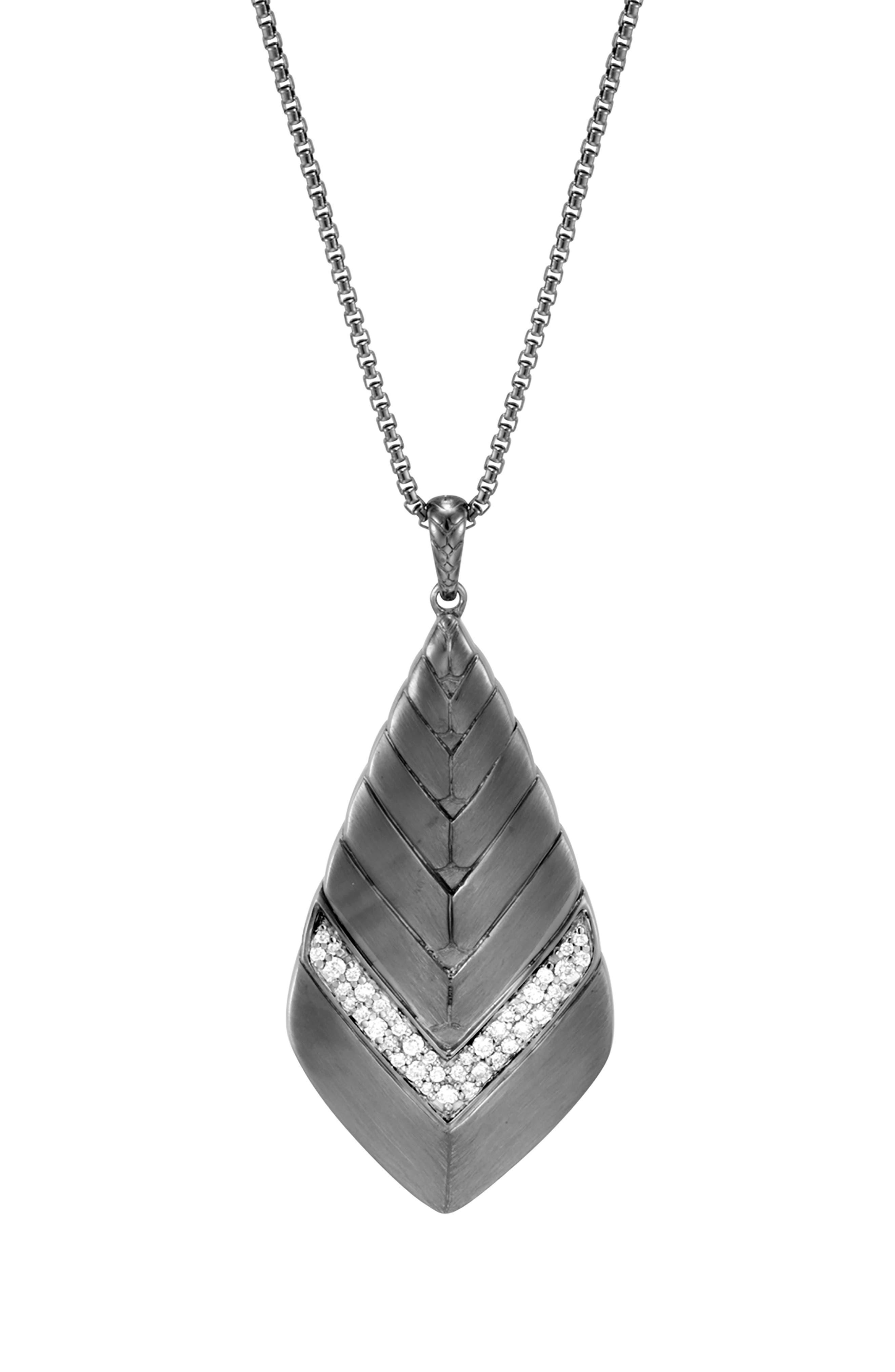 Modern Chain Long Diamond Pavé Pendant Necklace,                             Alternate thumbnail 2, color,                             Black Rhodium/ Sterling Silver
