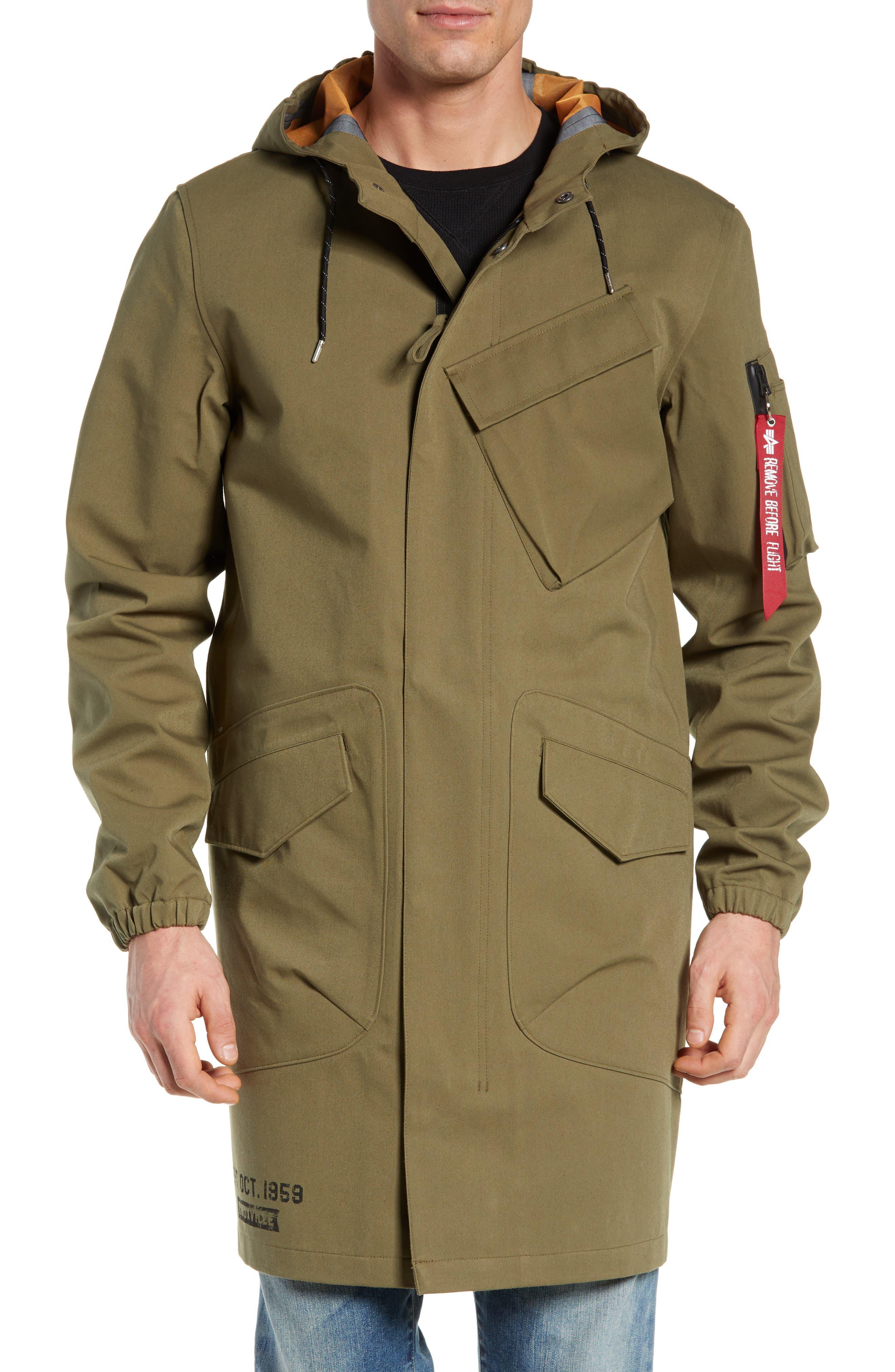 Duster Waterproof Field Coat,                             Alternate thumbnail 4, color,                             VINTAGE OLIVE