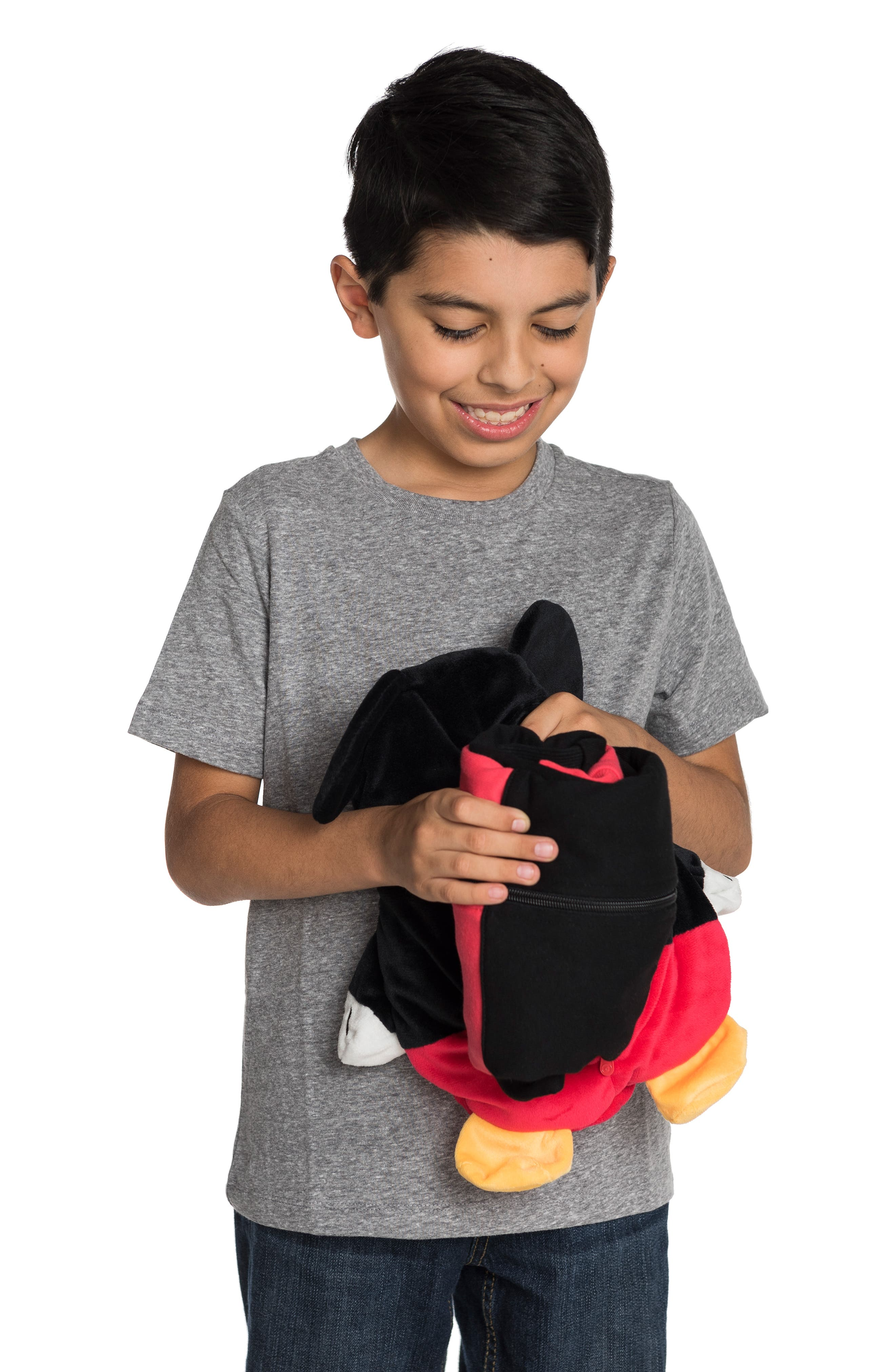 Mickey Mouse<sup>®</sup> 2-in-1 Stuffed Animal Hoodie,                             Alternate thumbnail 8, color,                             BLACK / RED MIX