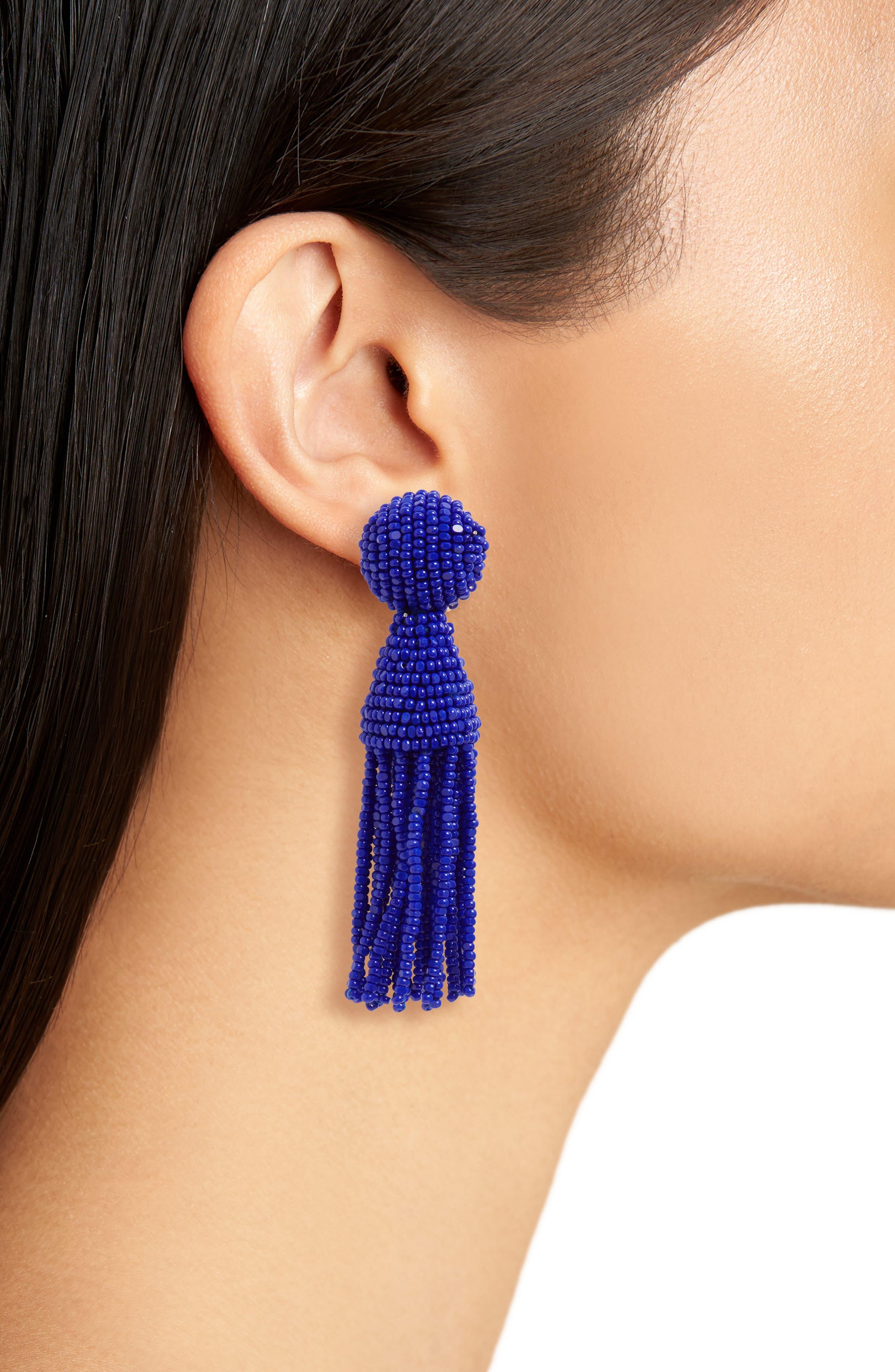 'Classic Short' Tassel Drop Clip Earrings,                             Alternate thumbnail 32, color,