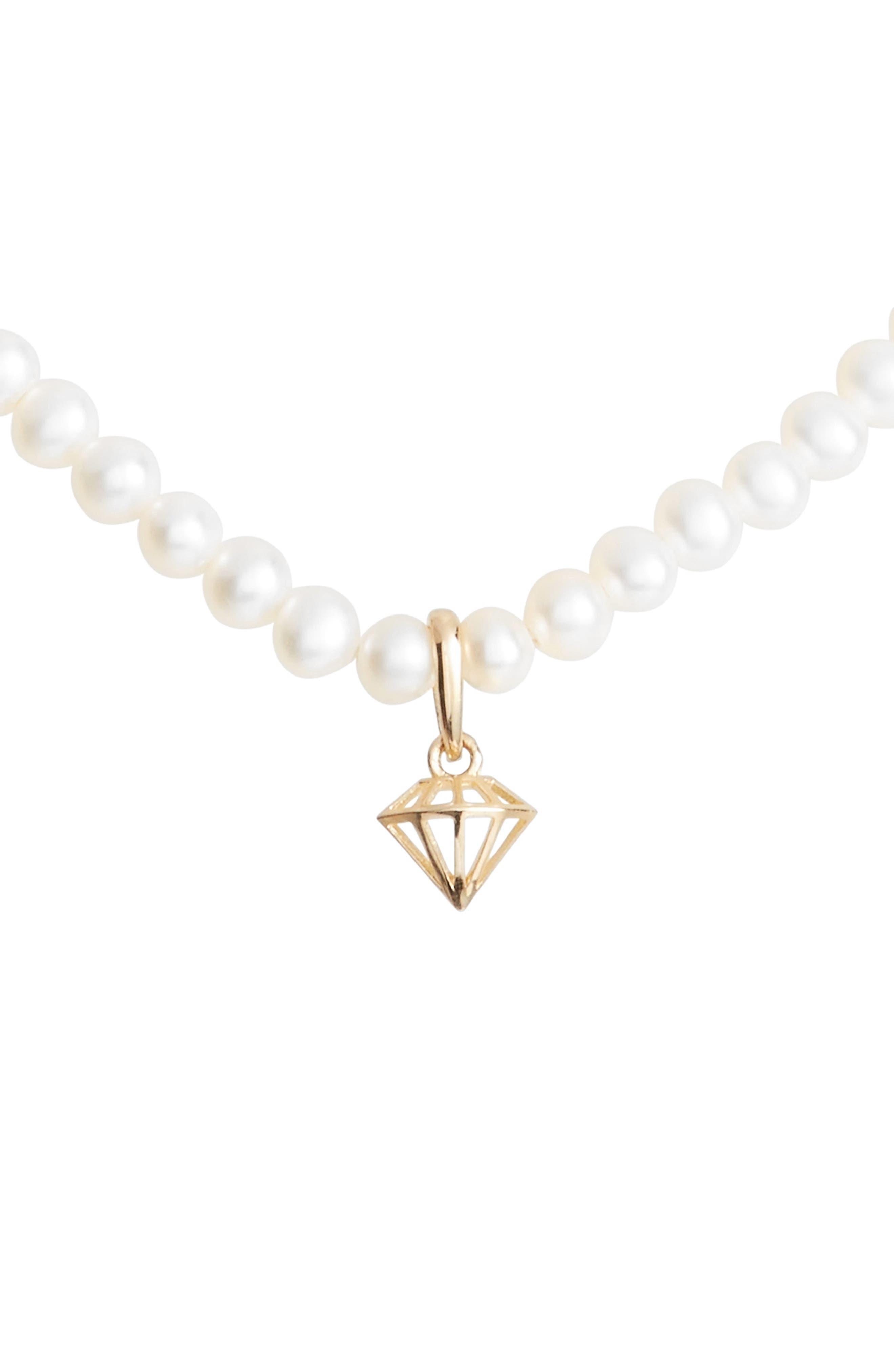 Diamond Charm Pearl Necklace,                         Main,                         color, 710