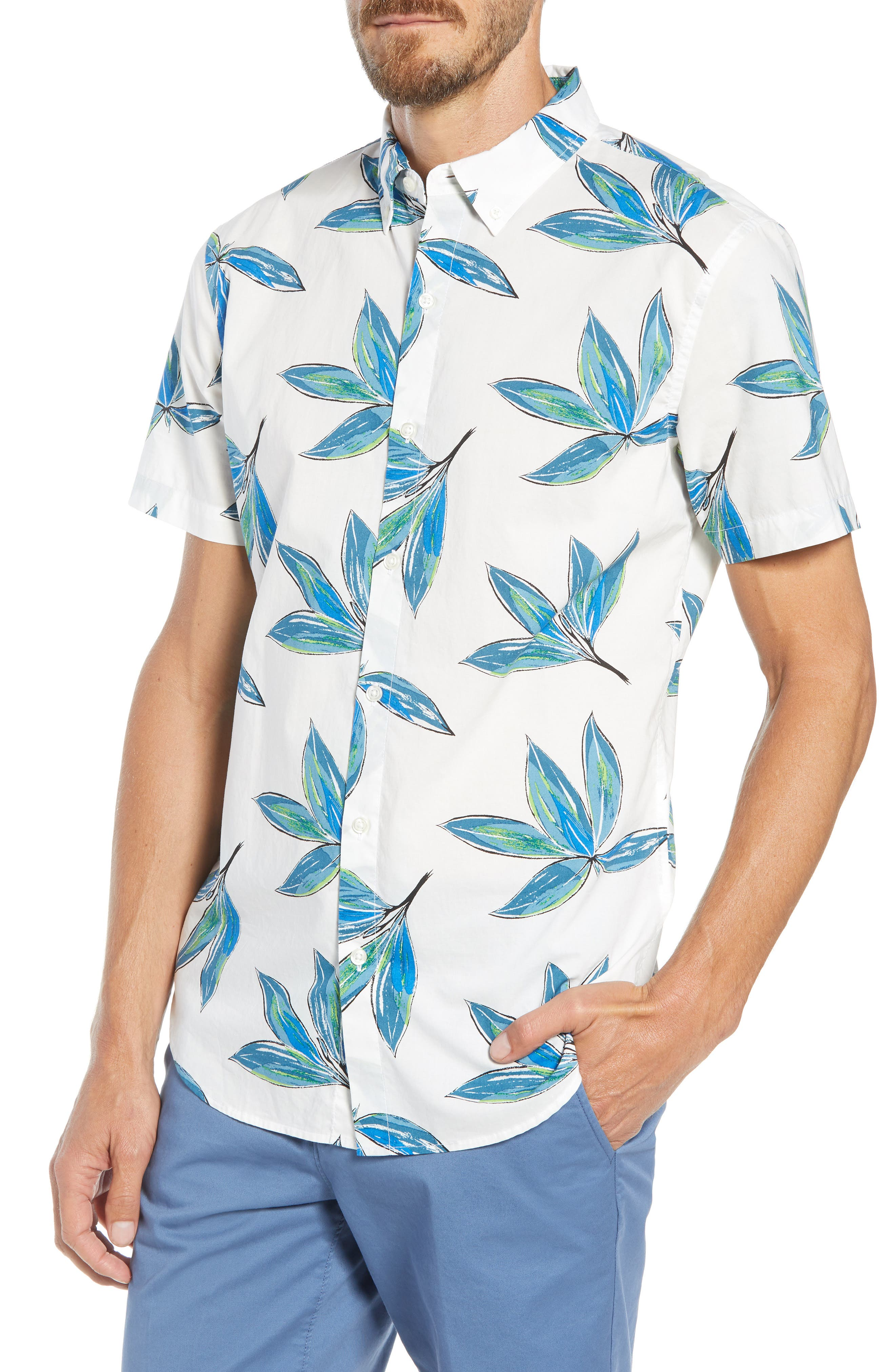 Riviera Slim Fit Leaf Print Sport Shirt,                             Main thumbnail 1, color,                             LEAF BUNCH