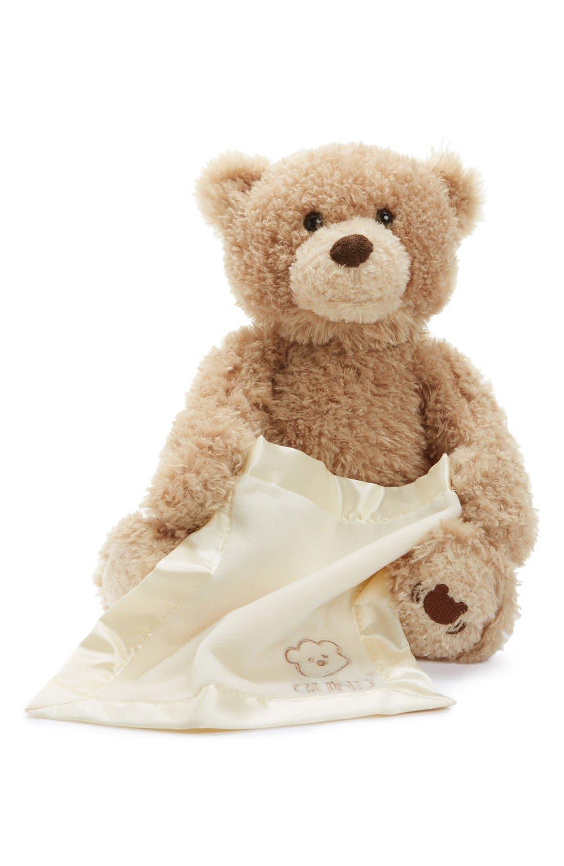 Baby Gund 'Peekaboo' Bear,                             Main thumbnail 1, color,                             NO COLOR