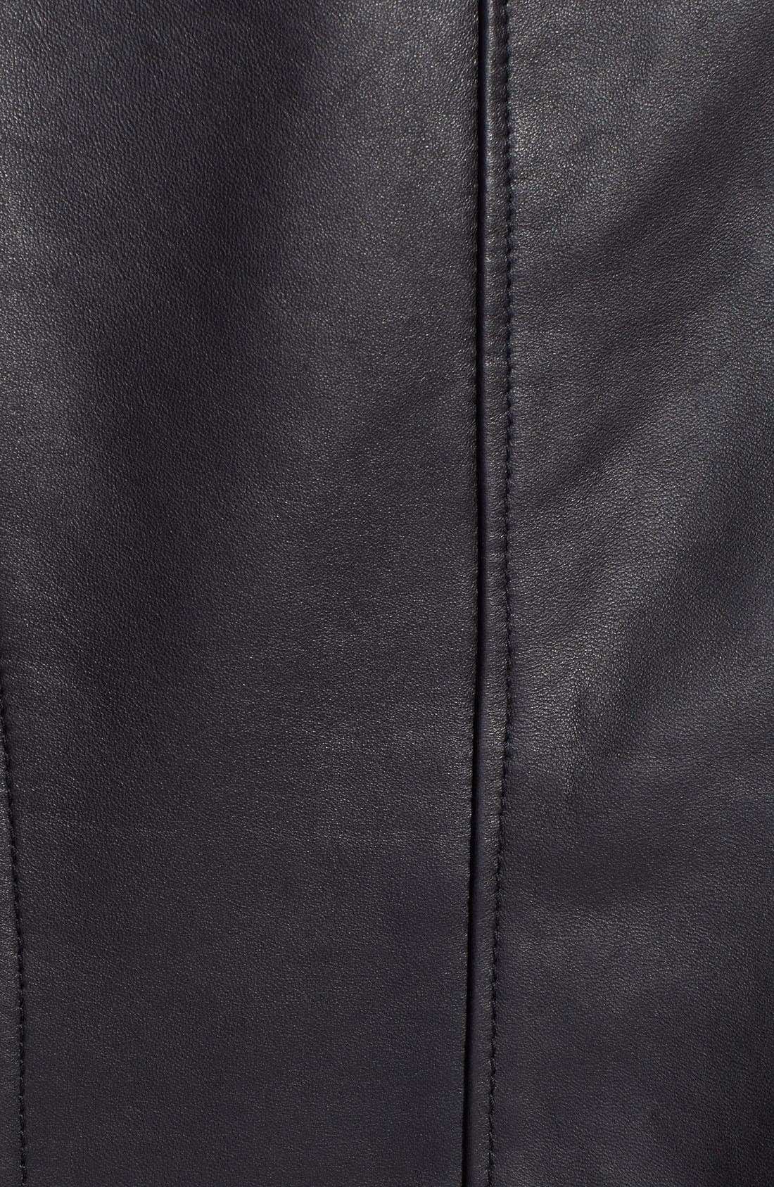 Ruched Side Leather Jacket,                             Alternate thumbnail 2, color,                             001