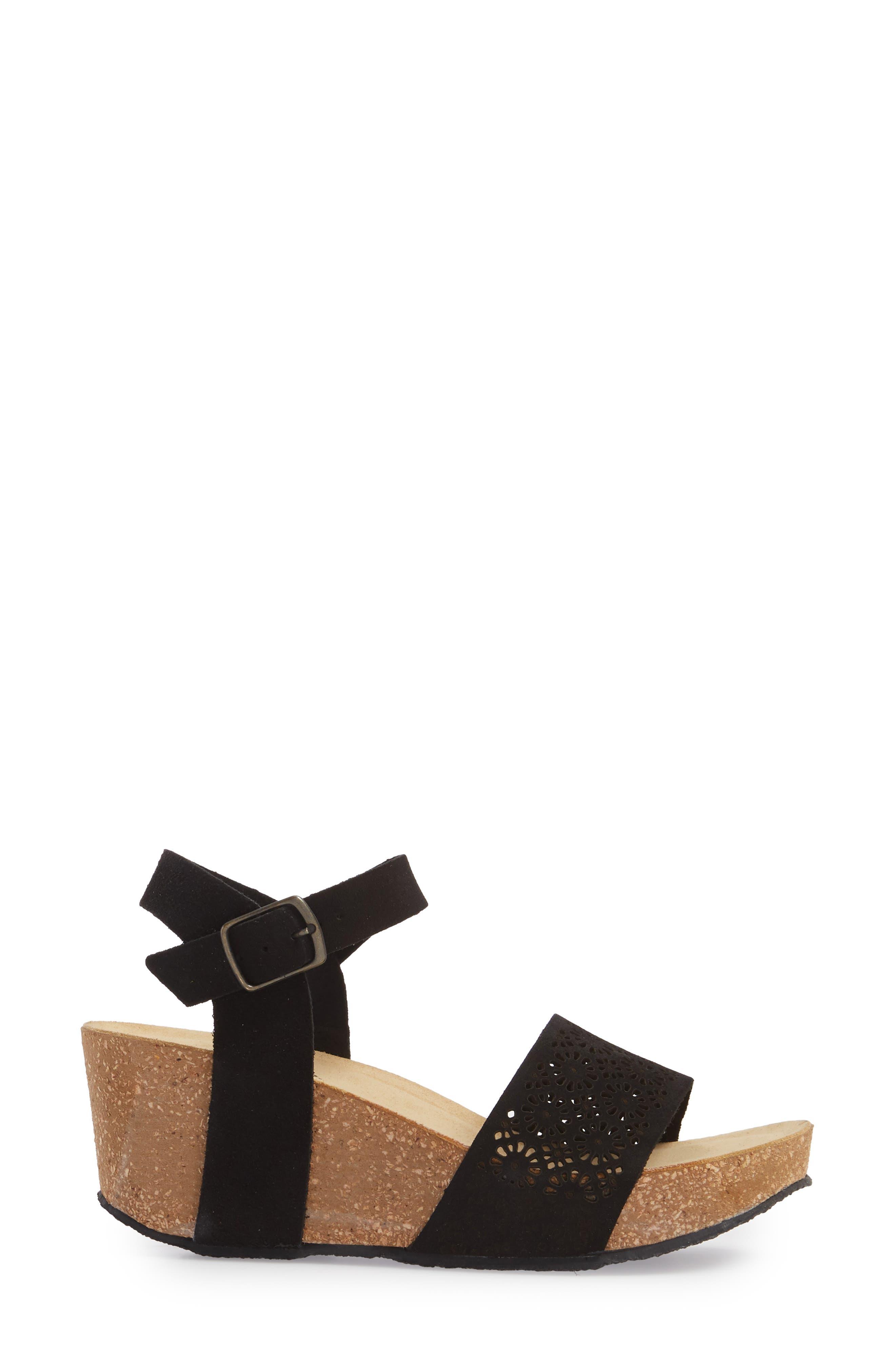Lolo Platform Wedge Sandal,                             Alternate thumbnail 3, color,                             BLACK SUEDE