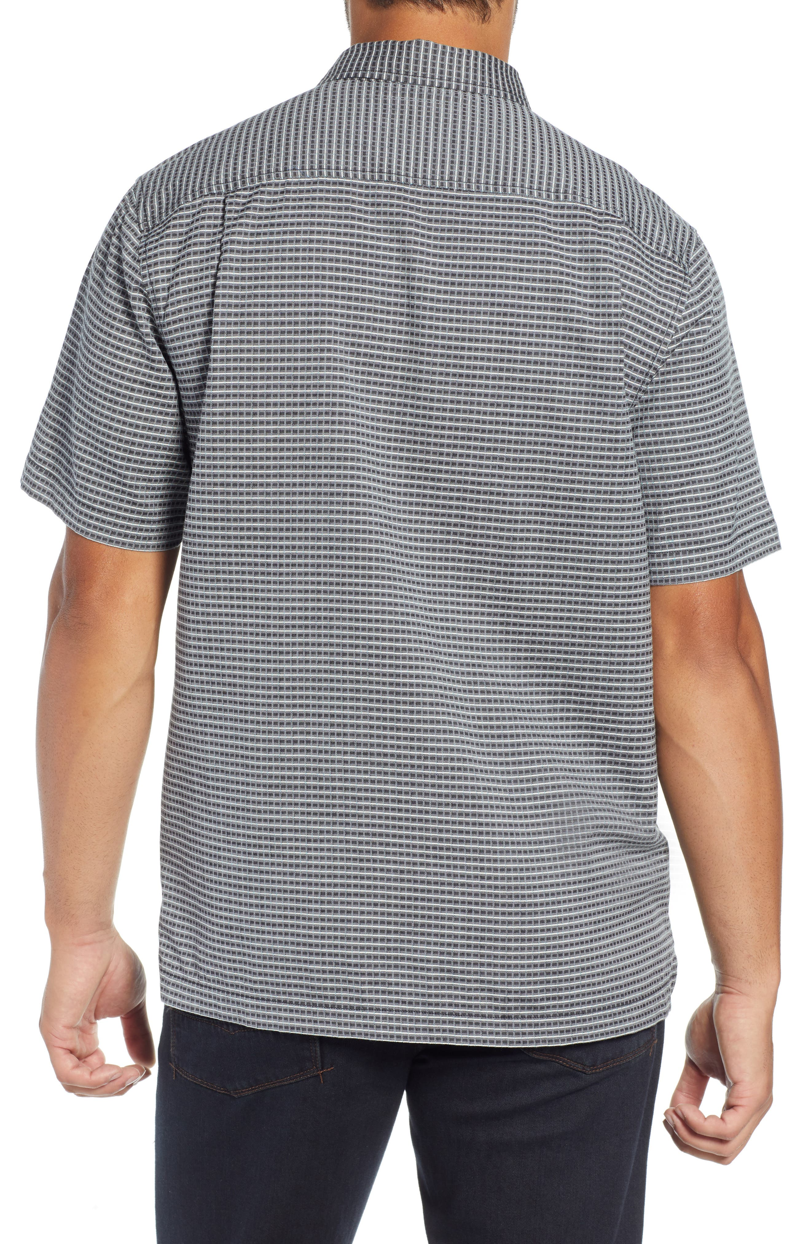 Check-in-the-Tropics Silk Blend Camp Shirt,                             Alternate thumbnail 3, color,                             BLACK