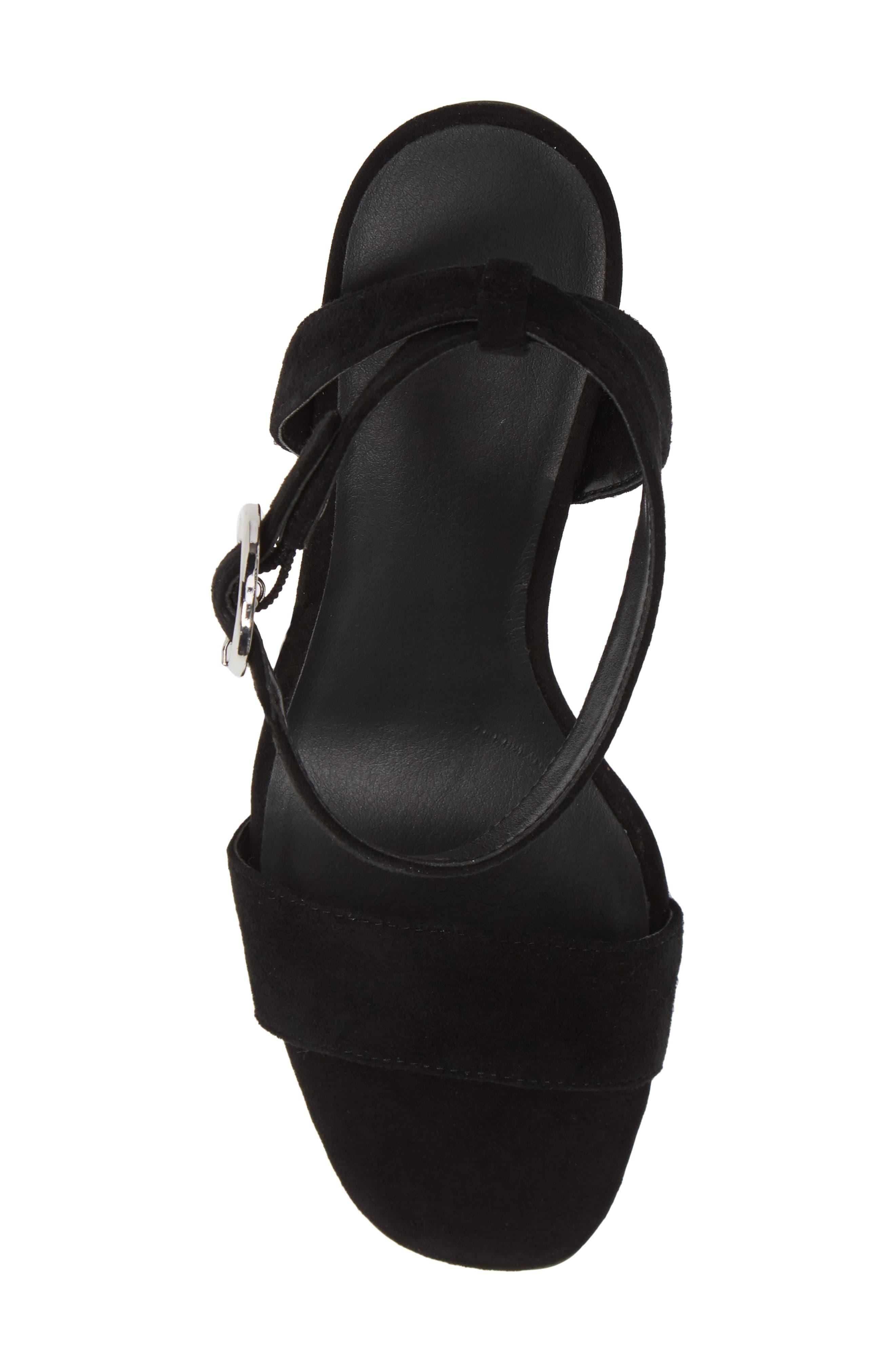 Cleo Cone Heel Sandal,                             Alternate thumbnail 5, color,                             BLACK SUEDE