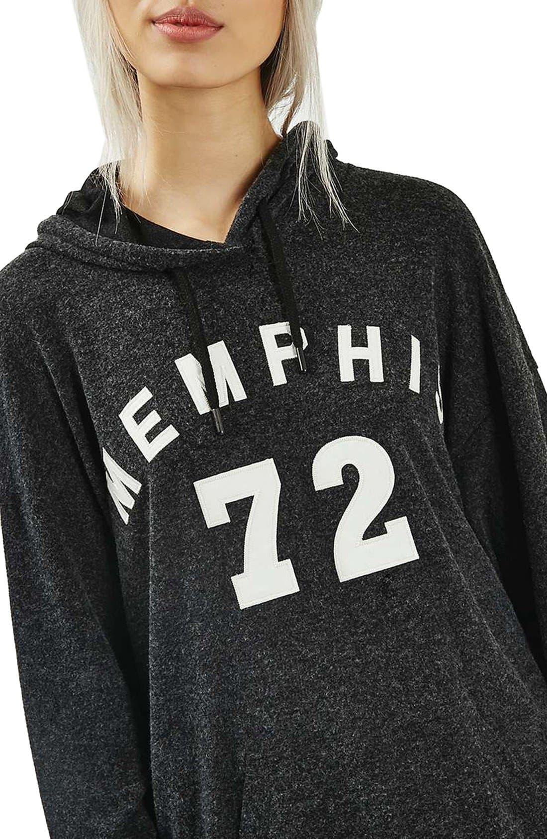 TOPSHOP,                             Memphis Brushed Hoodie,                             Alternate thumbnail 2, color,                             021