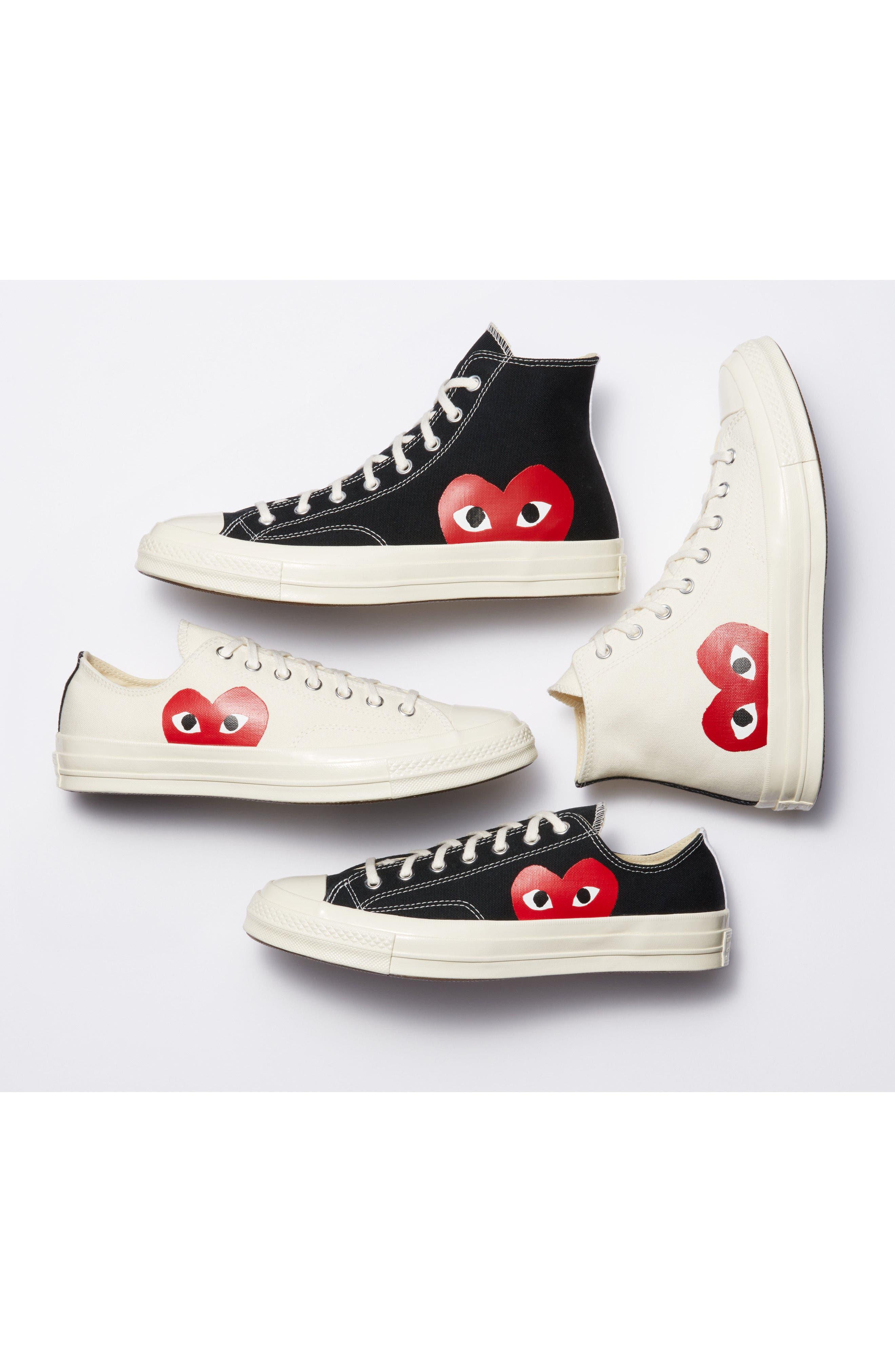 COMME DES GARÇONS,                             PLAY x Converse Chuck Taylor<sup>®</sup> Hidden Heart High Top Sneaker,                             Alternate thumbnail 7, color,                             WHITE CANVAS