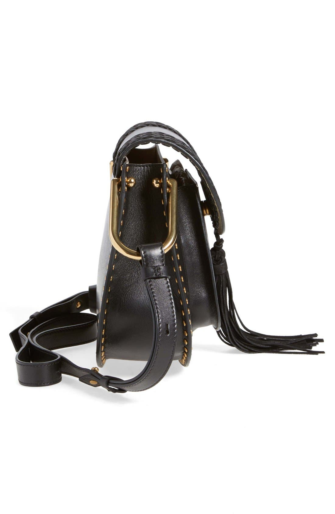 CHLOÉ,                             'Small Hudson' Studded Calfskin Leather Crossbody Bag,                             Alternate thumbnail 6, color,                             001