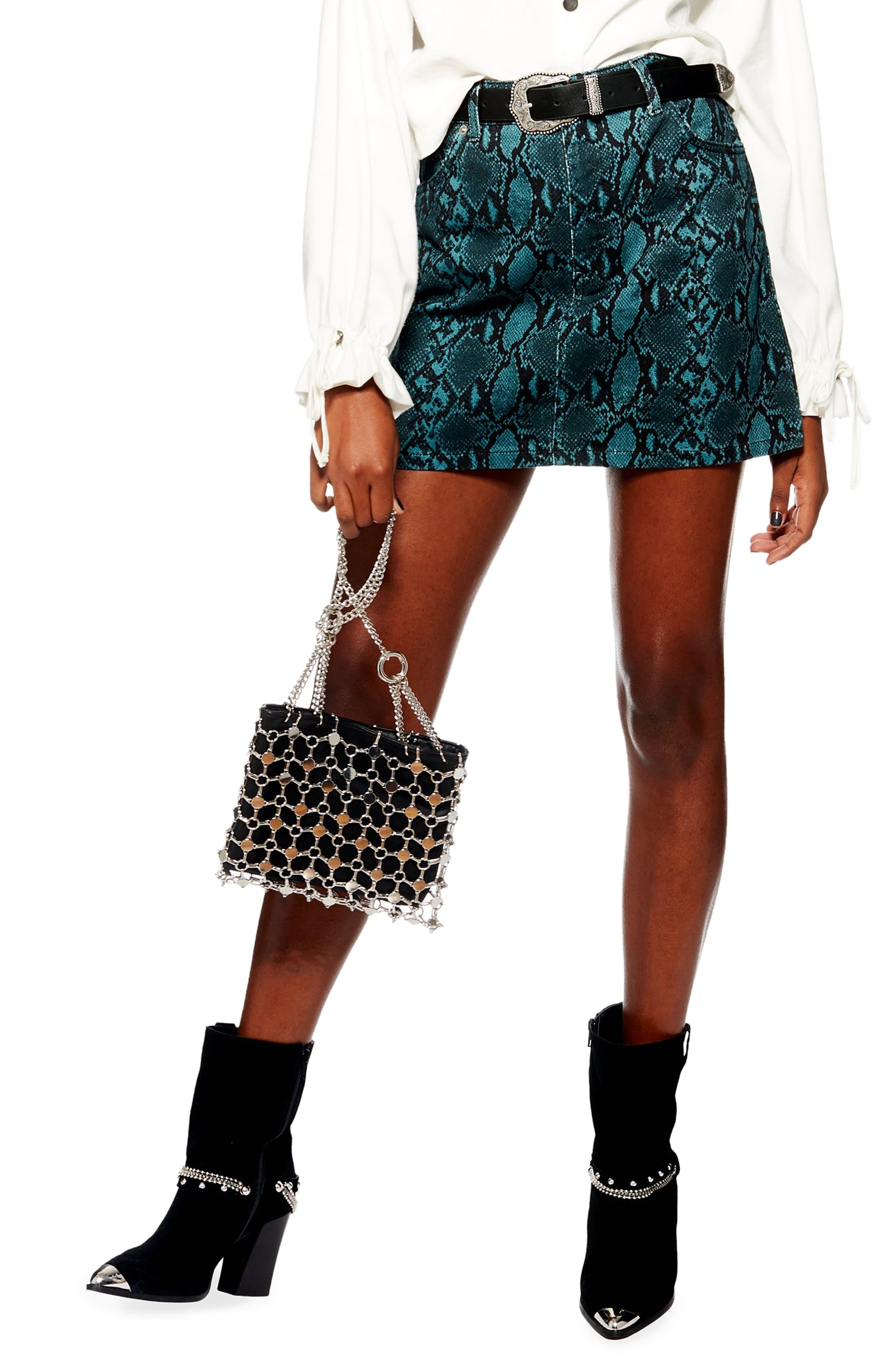 Topshop Snake Print Miniskirt, US (fits like 16-18) - Blue/green