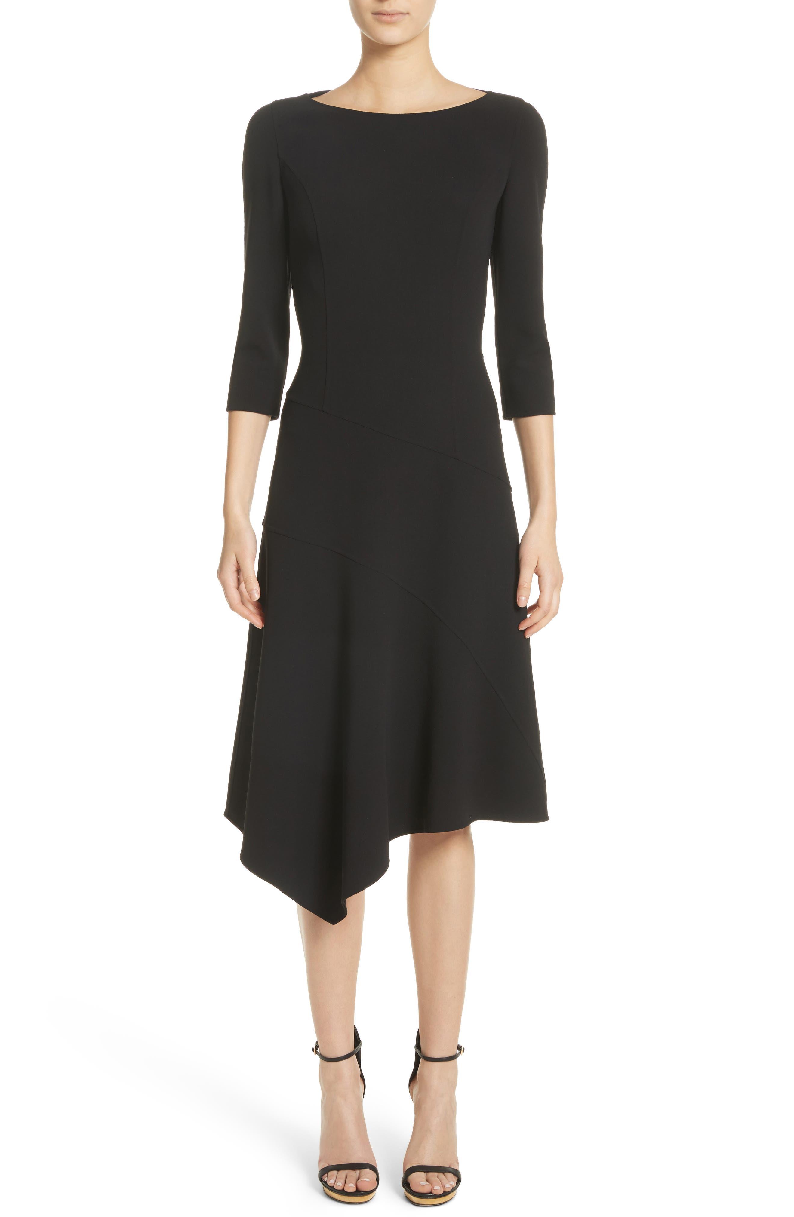 Stretch Wool Asymmetrical Dress,                             Main thumbnail 1, color,                             001
